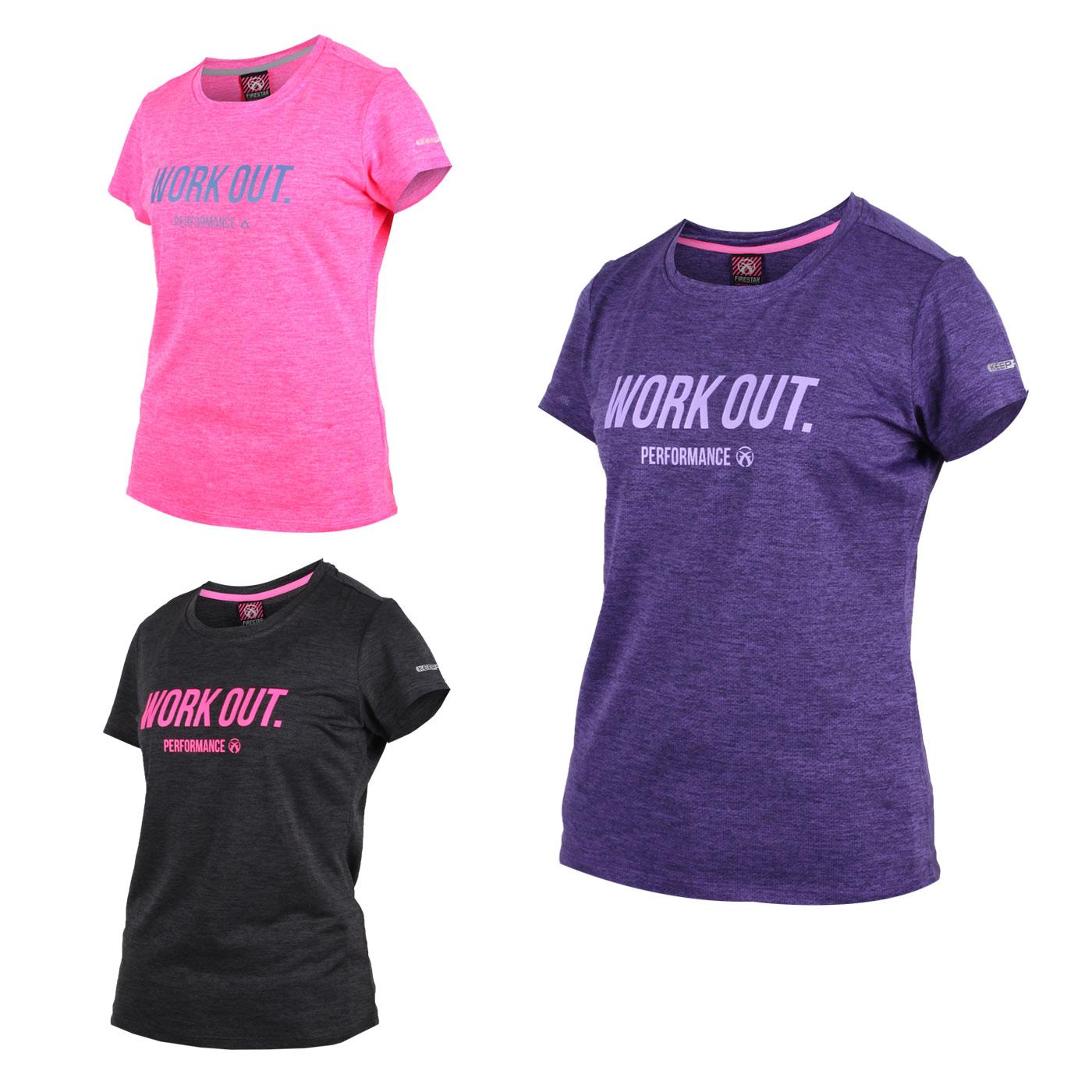 FIRESTAR 女款吸濕排汗圓領短袖T恤 DL962-19