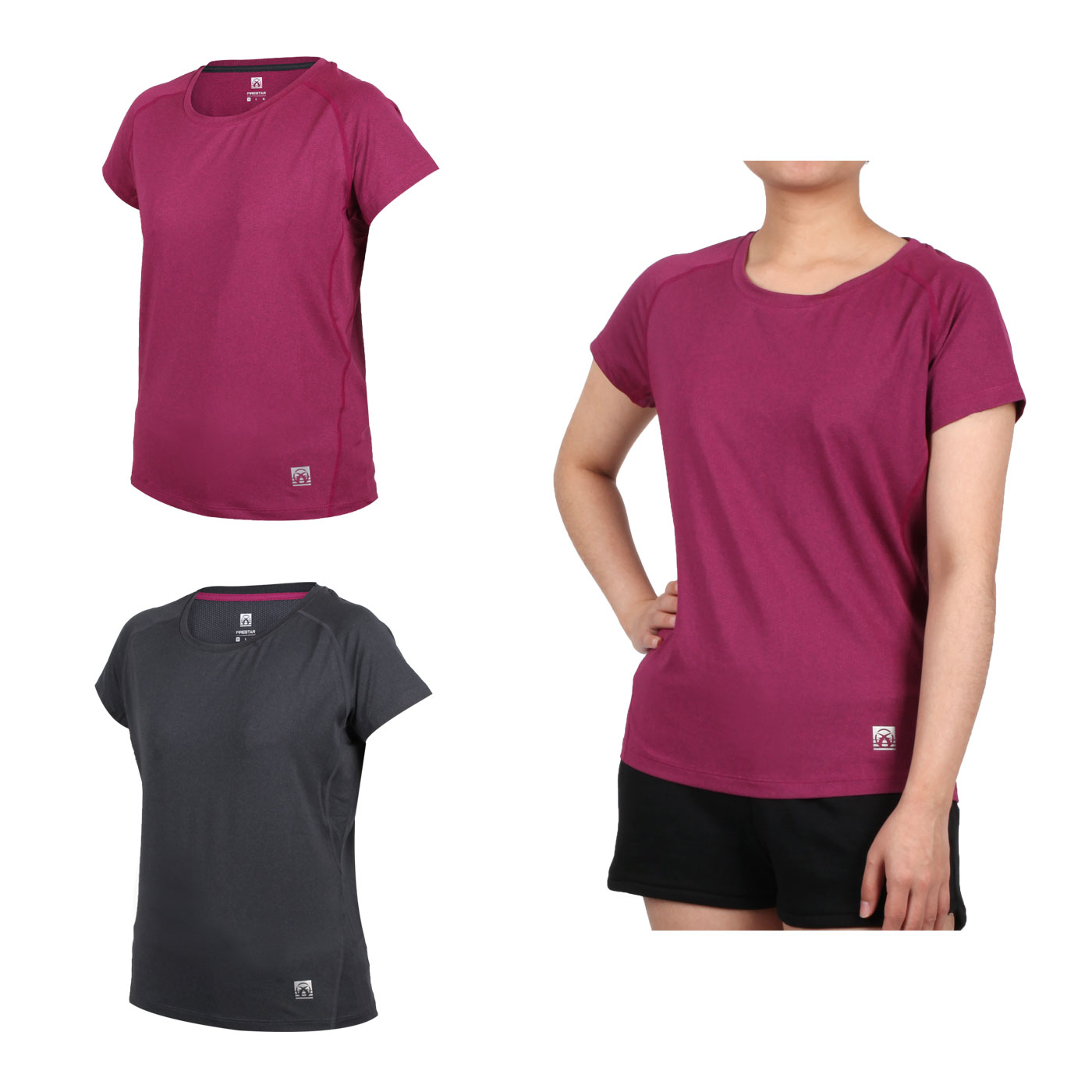 FIRESTAR 女款彈性剪接圓領短袖T恤 DL060-19
