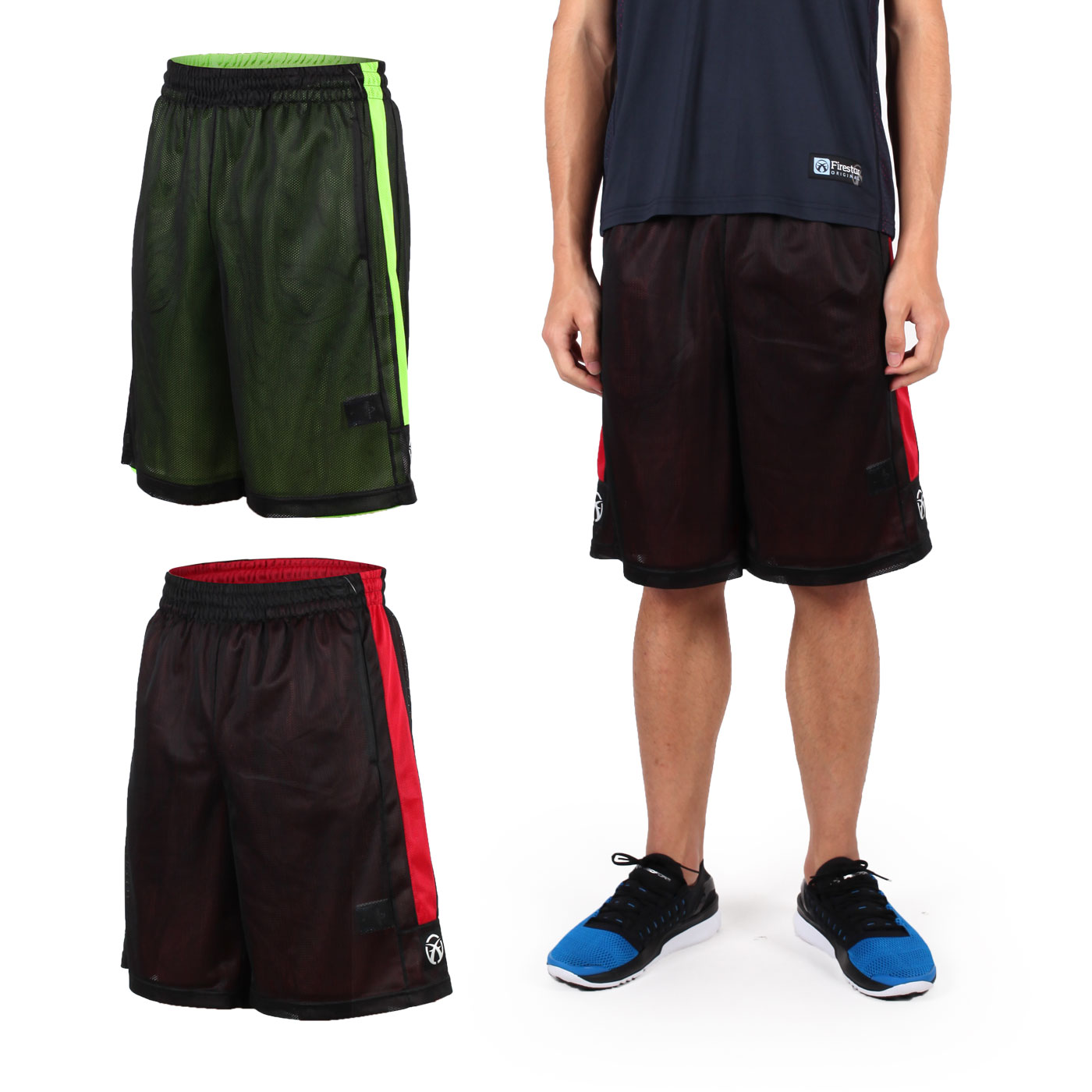 FIRESTAR 男雙面網布籃球褲 B6306-10