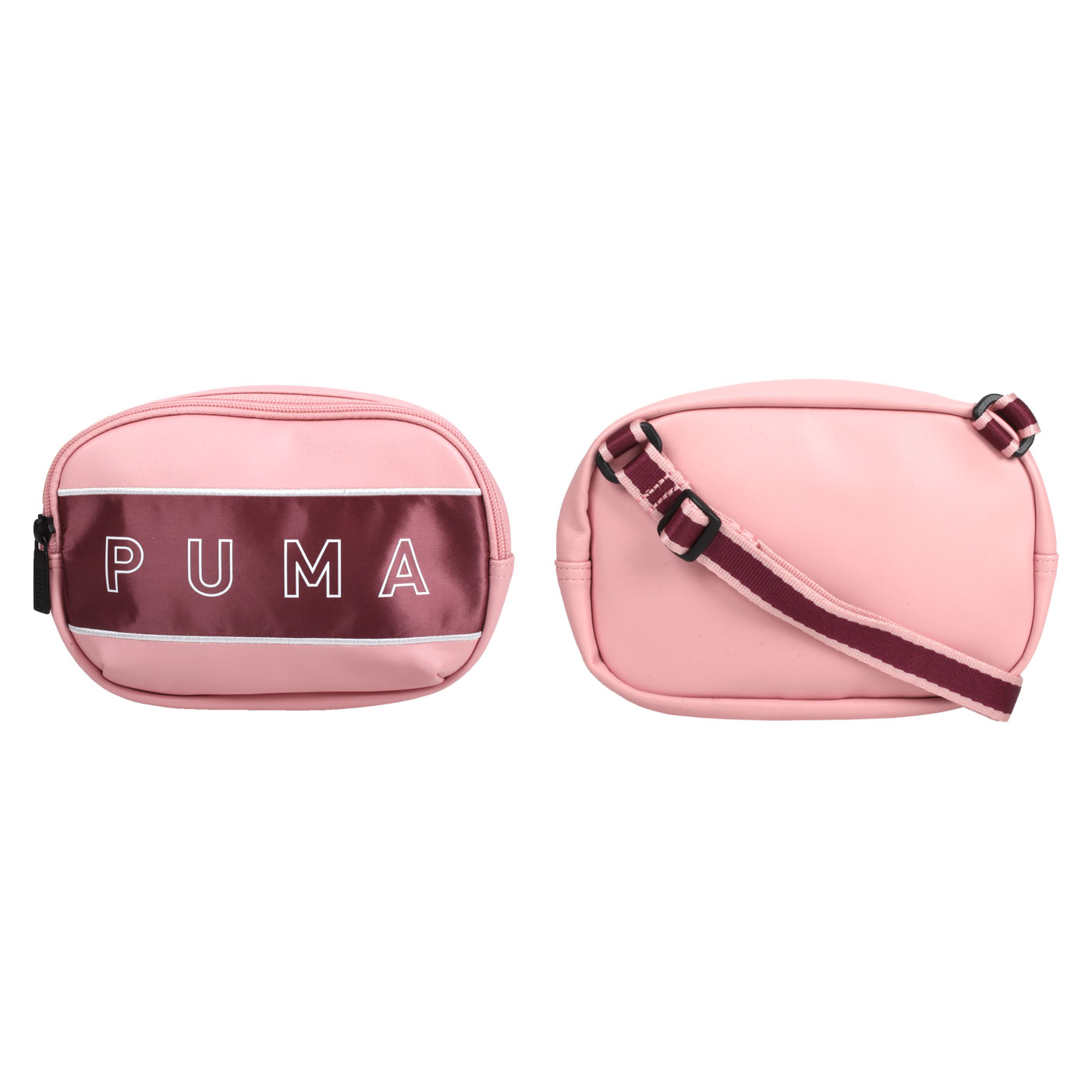 PUMA 側背小包 07739103 - 粉紅酒紅白