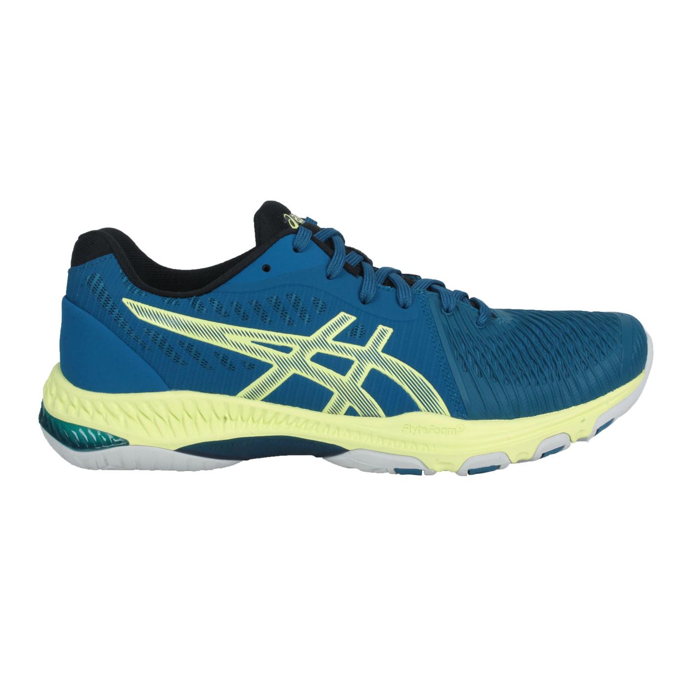ASICS 男款排羽球鞋  @NETBURNER BALLISTIC FF 2@1051A041-404 - 藍綠螢光黃