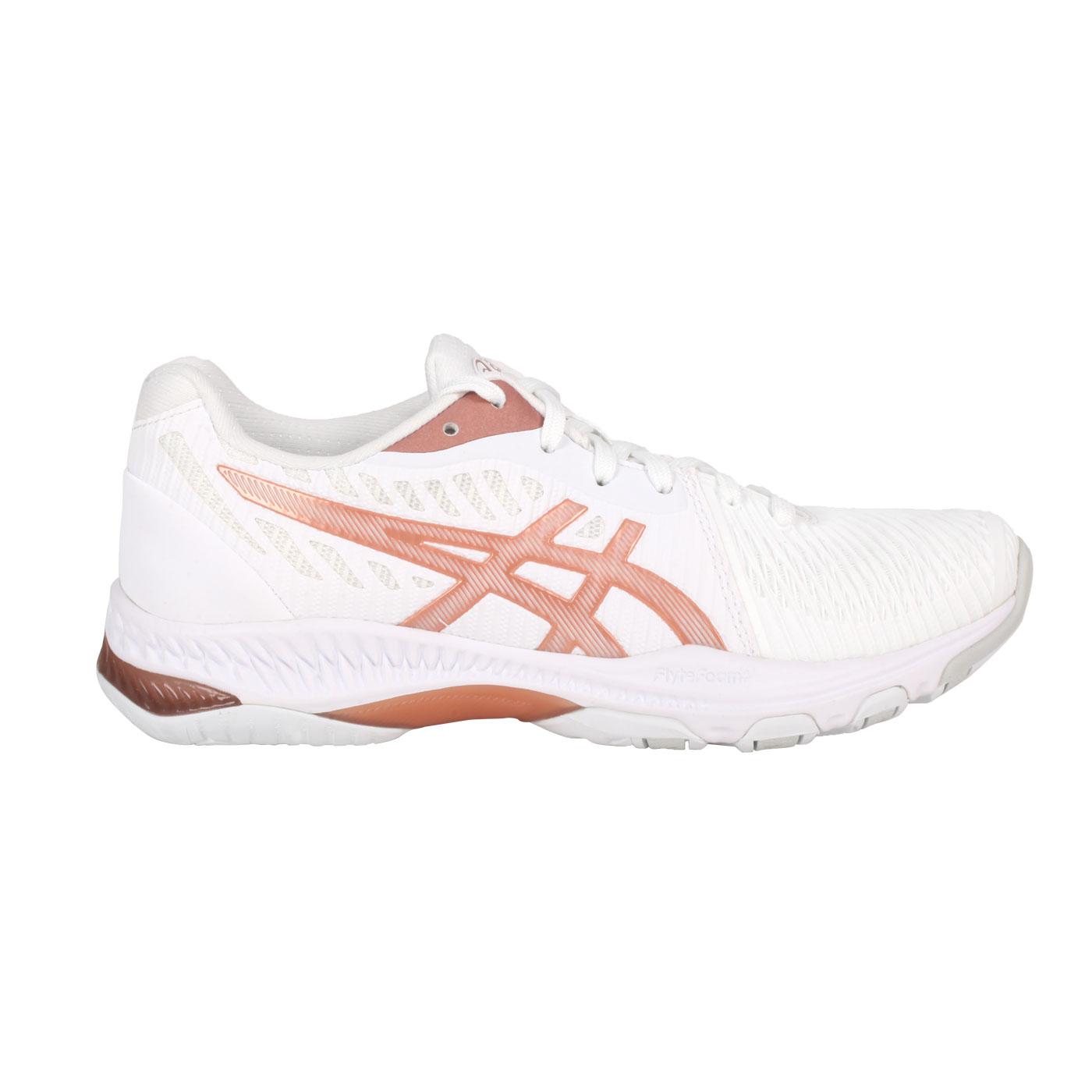 ASICS 男女款排球鞋  @NETBURNER BALLISTIC FF 2@1052A033-102 - 白玫瑰金