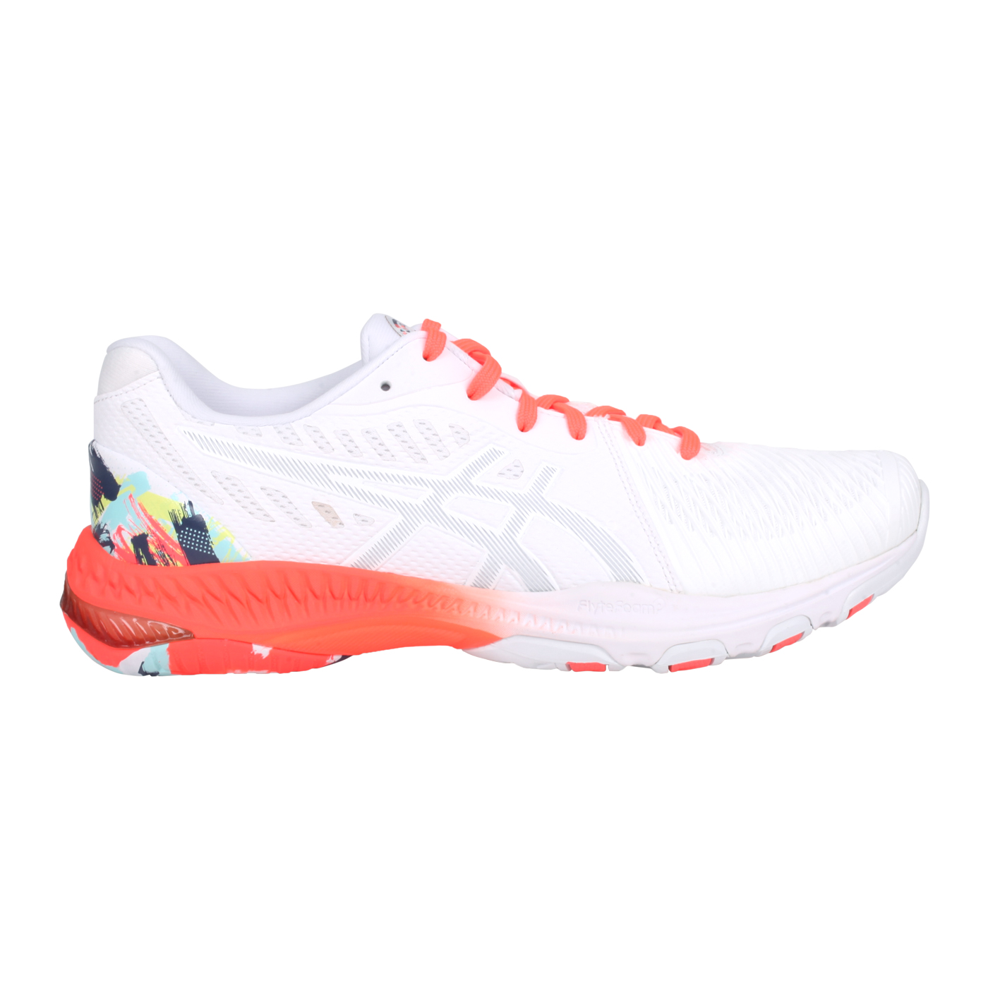 ASICS 男款排羽球鞋  @NETBURNER BALLISTIC FF 2@1053A037-960 - 白螢光橘