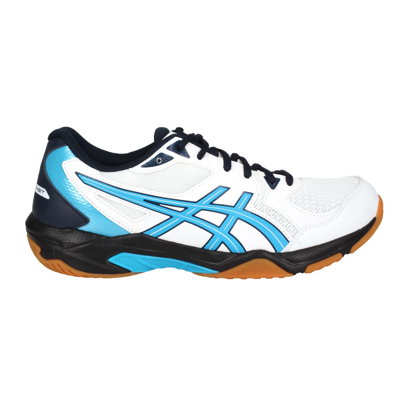 ASICS 男款排羽球鞋  @GEL-ROCKET 10@1071A054-102 - 白藍黑