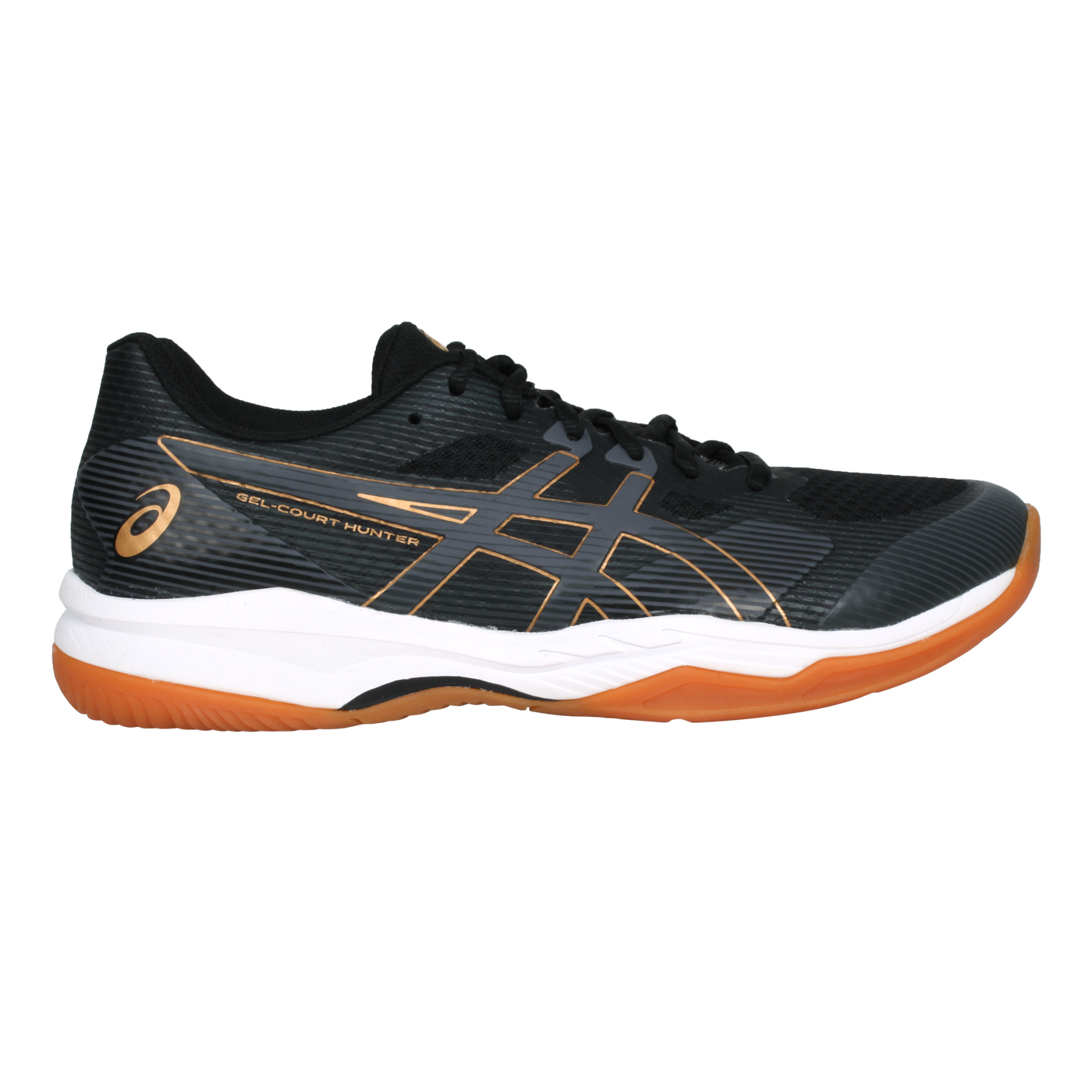 ASICS 男款羽球鞋   @GEL-COURT HUNTER 2@1071A059-001 - 黑灰金