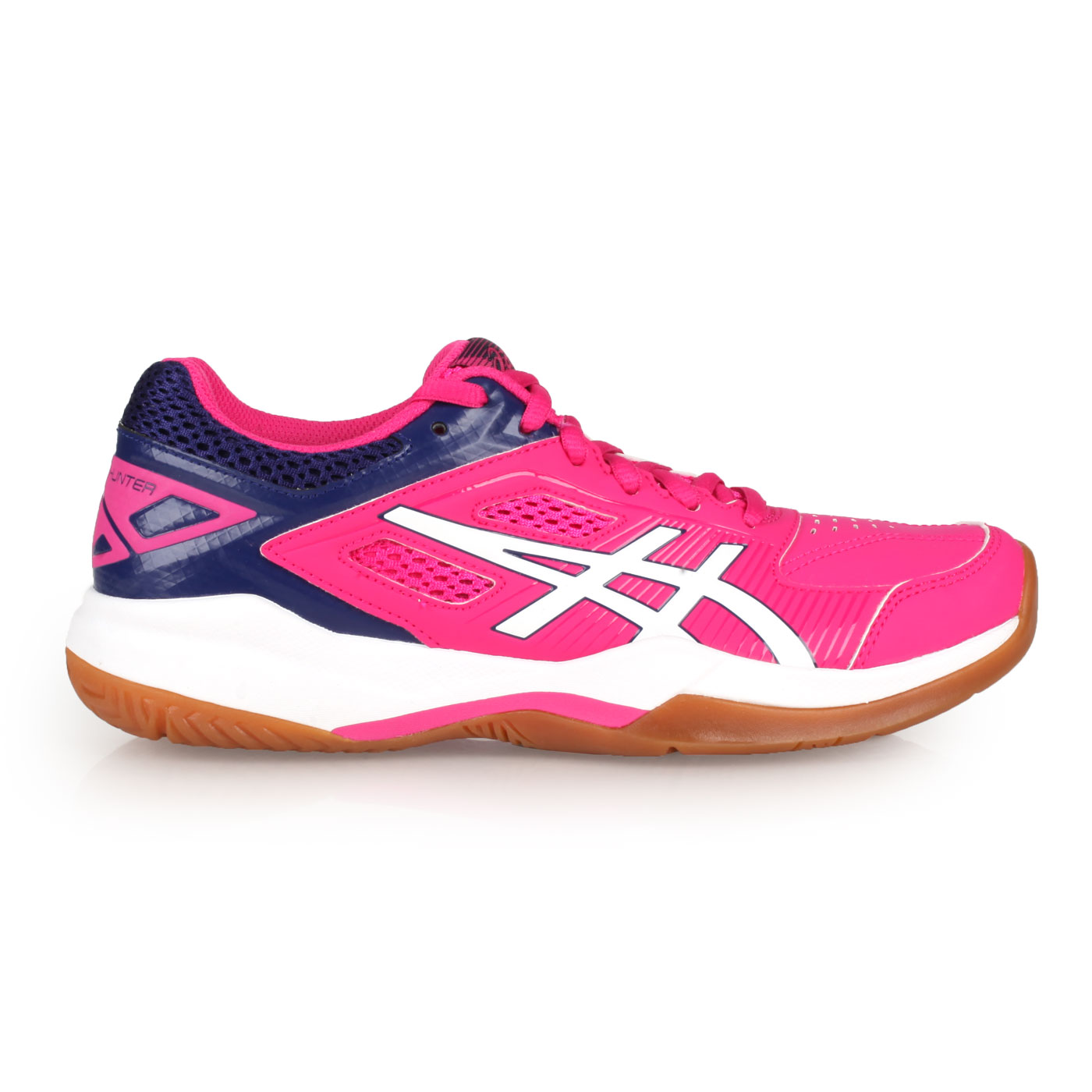 ASICS 女款羽球鞋-2E  @GEL-COURT HUNTER@1072A015-118 - 桃紅丈青白