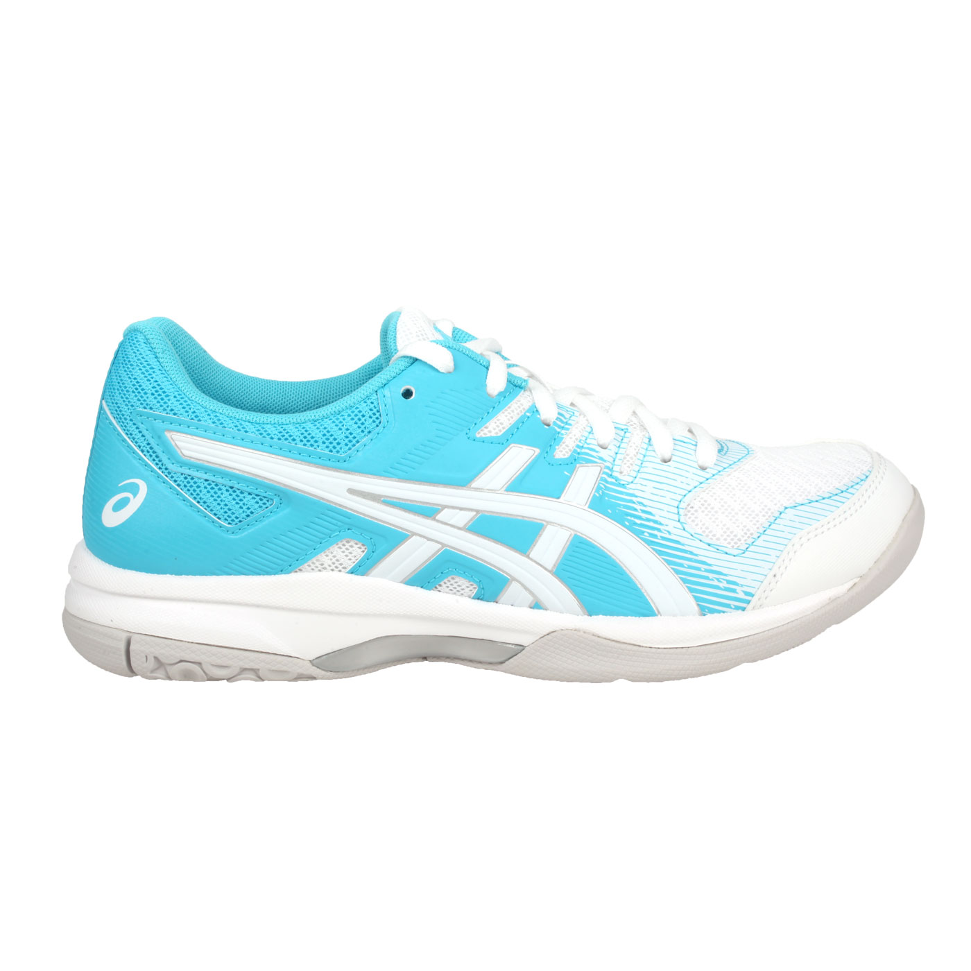 ASICS 女款排羽球鞋  @GEL-ROCKET 9@1072A034-003 - 白白水藍