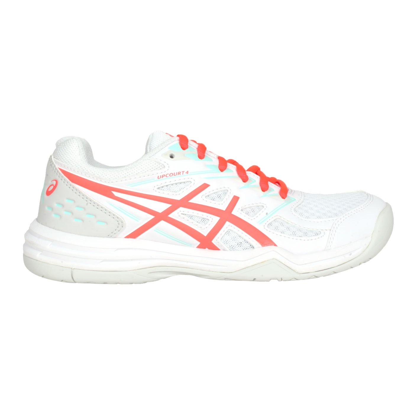 ASICS 女款排羽球鞋  @UPCOURT 4@1072A055-960 - 白螢光橘
