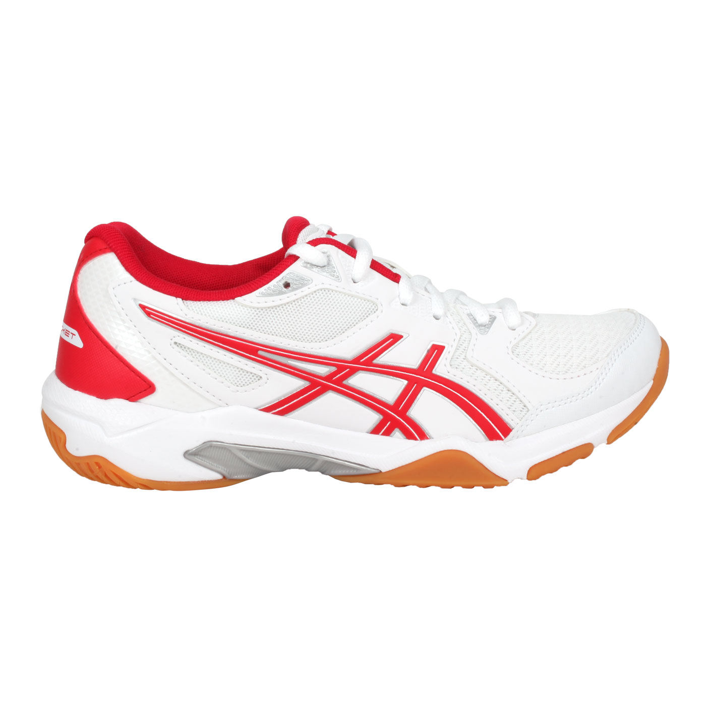 ASICS 女款排羽球鞋  @GEL-ROCKET 10@1072A056-100 - 白紅