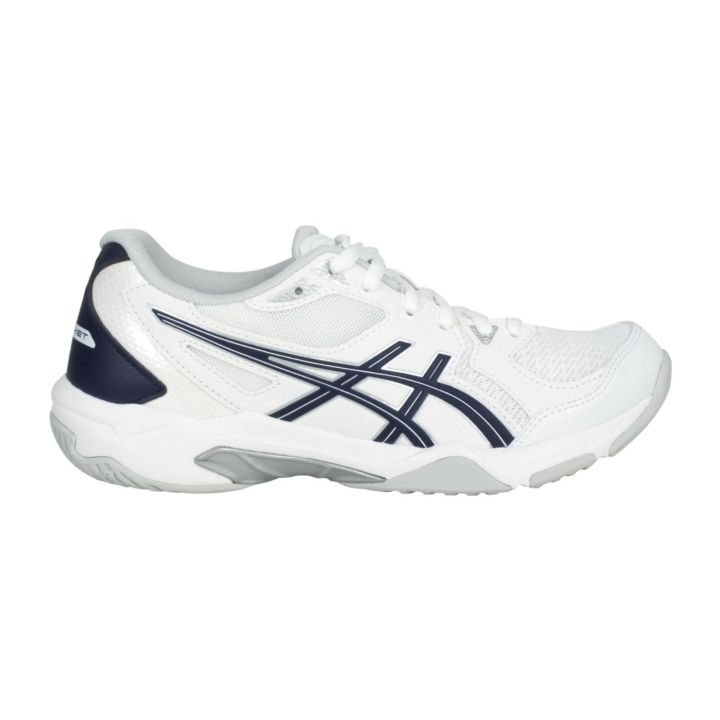 ASICS 女款排羽球鞋  @GEL-ROCKET 10@1072A056-101 - 白深藍灰