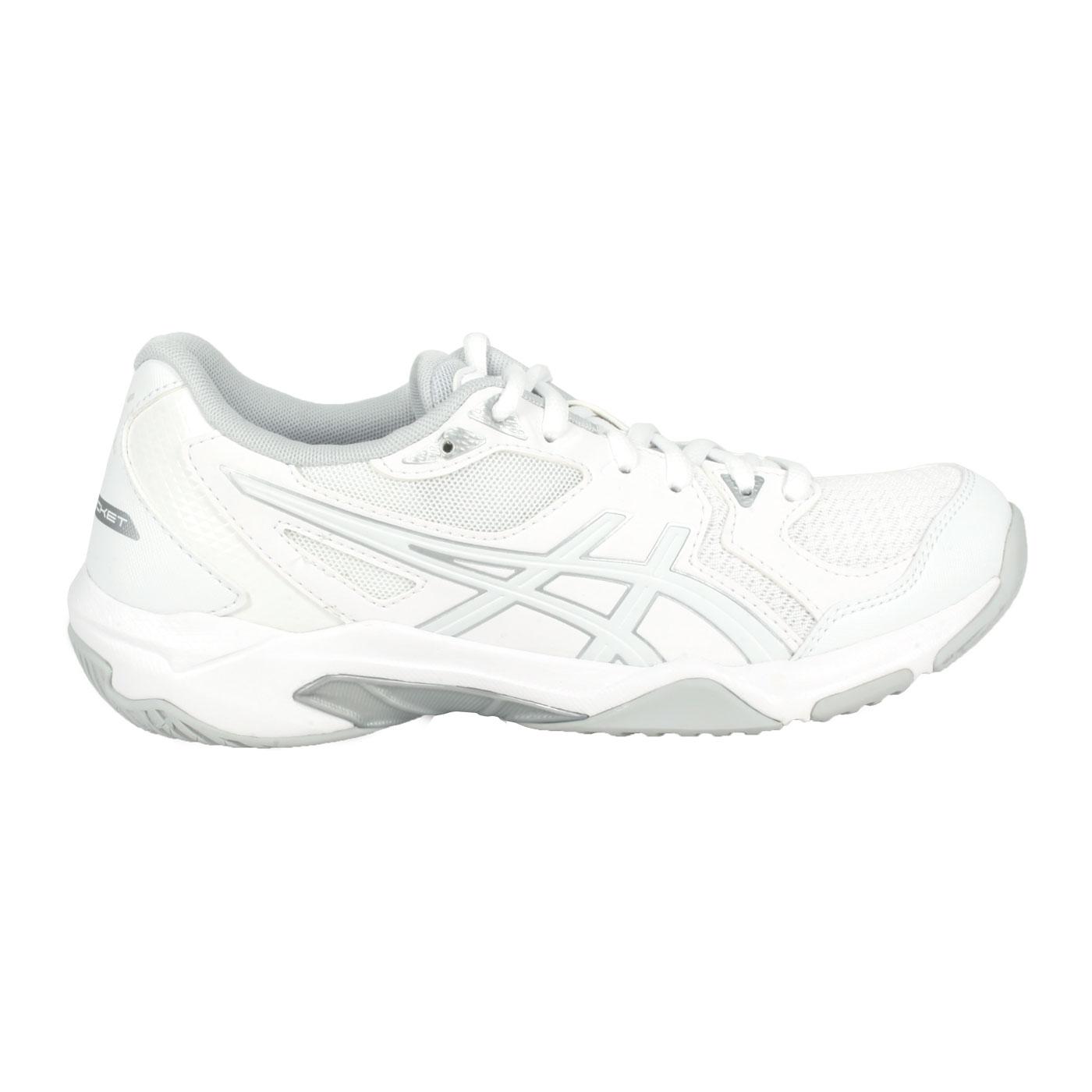 ASICS 女款排羽球鞋  @GEL-ROCKET 10@1072A056-106 - 白銀