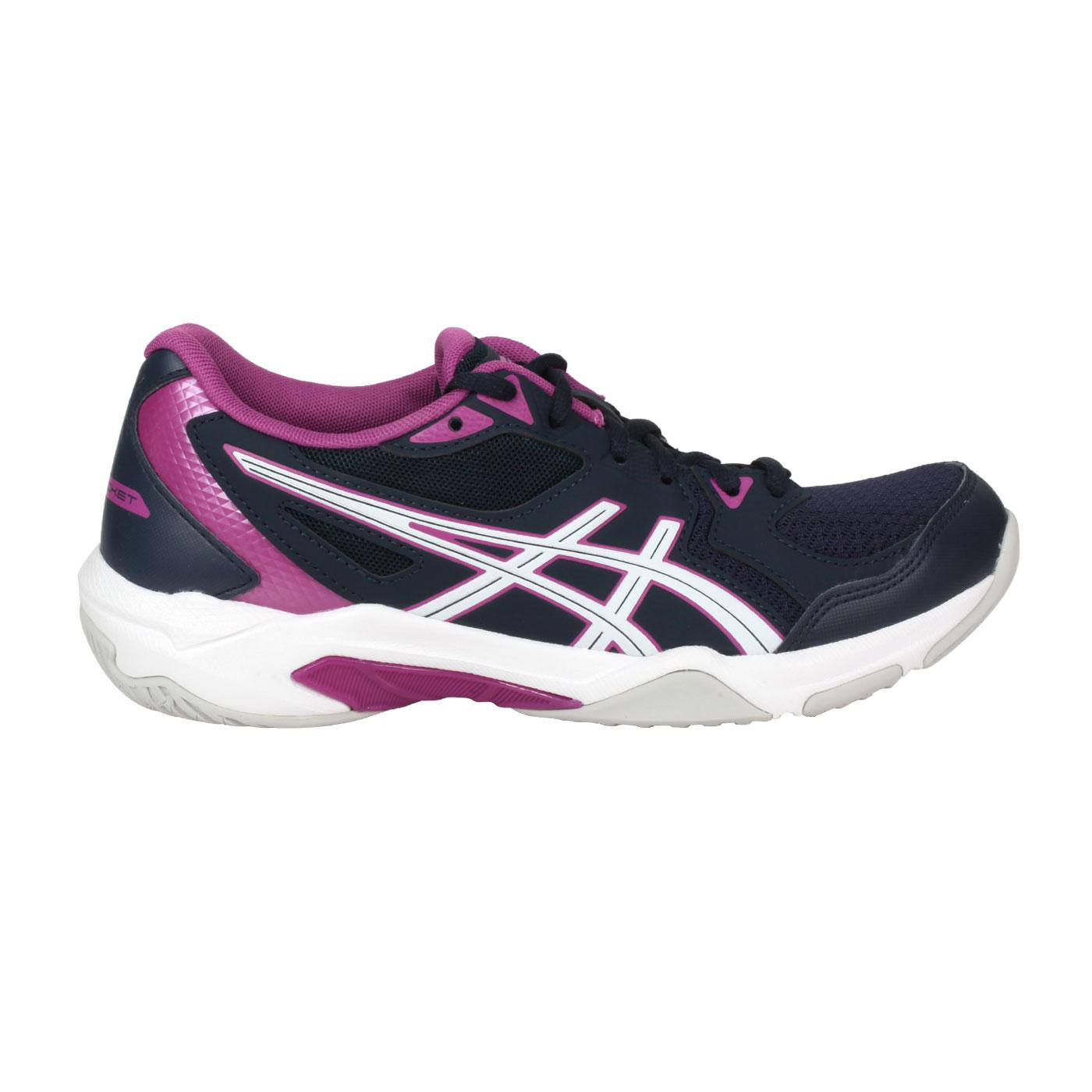 ASICS 女款排羽球鞋  @GEL-ROCKET 10@1072A056-400 - 丈青白紫