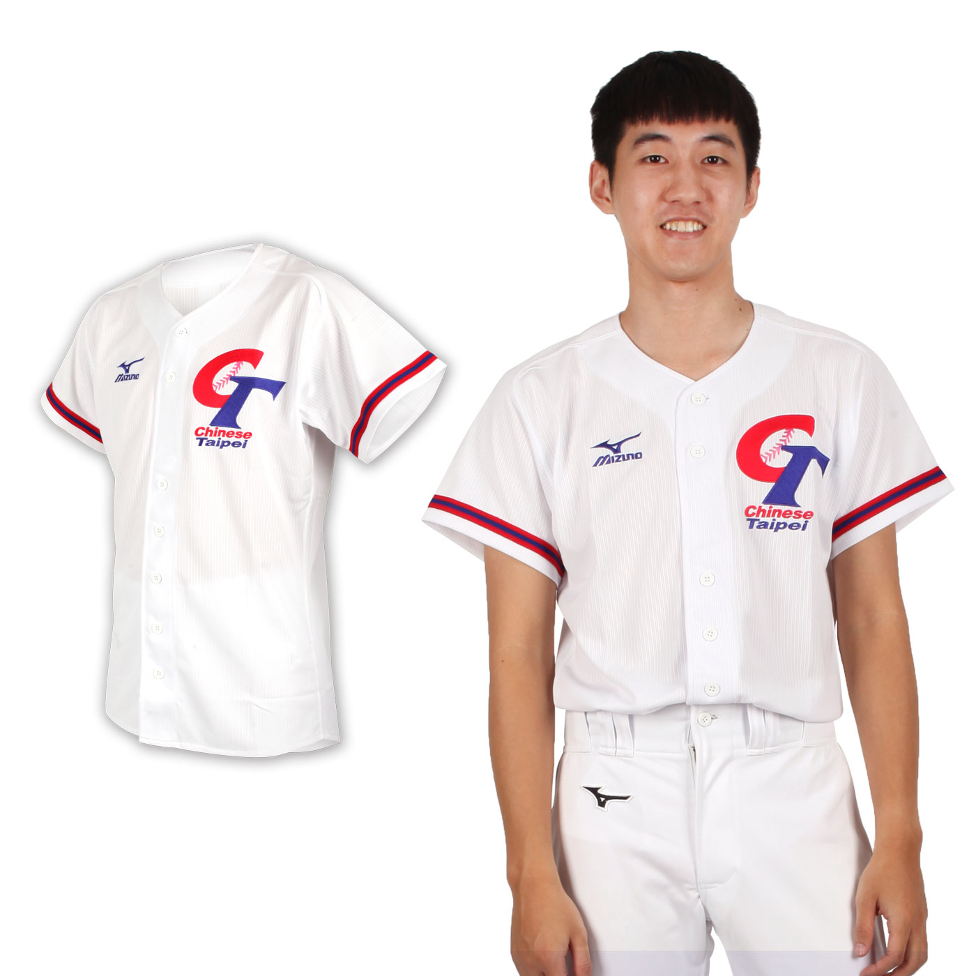 MIZUNO 男款短袖CT加油服 12TA8M0501 - 白丈青紅