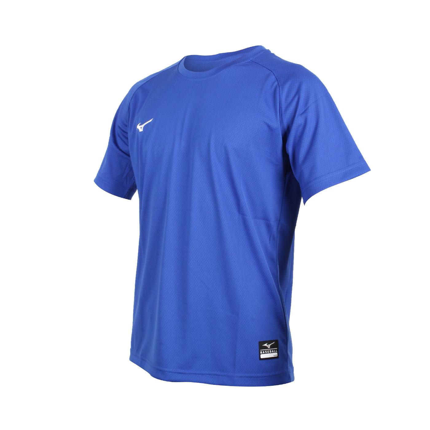 MIZUNO 男款棒球練習短袖T恤 12TC0L1109 - 藍白