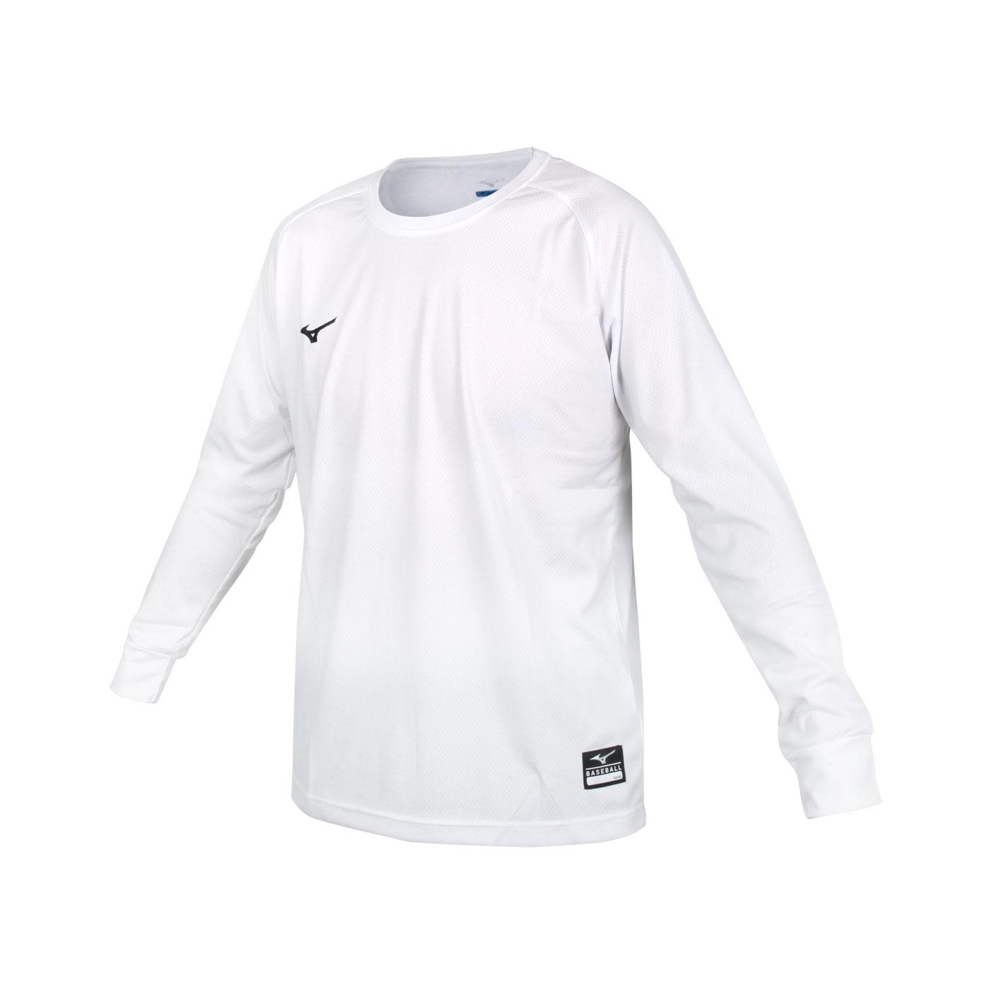 MIZUNO 男款長袖T恤 12TC0L3101 - 白黑