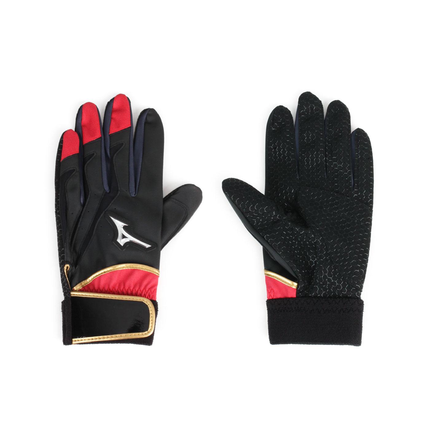 MIZUNO 打擊手套(右打者用) 1ETEA01062 - 黑紅金銀