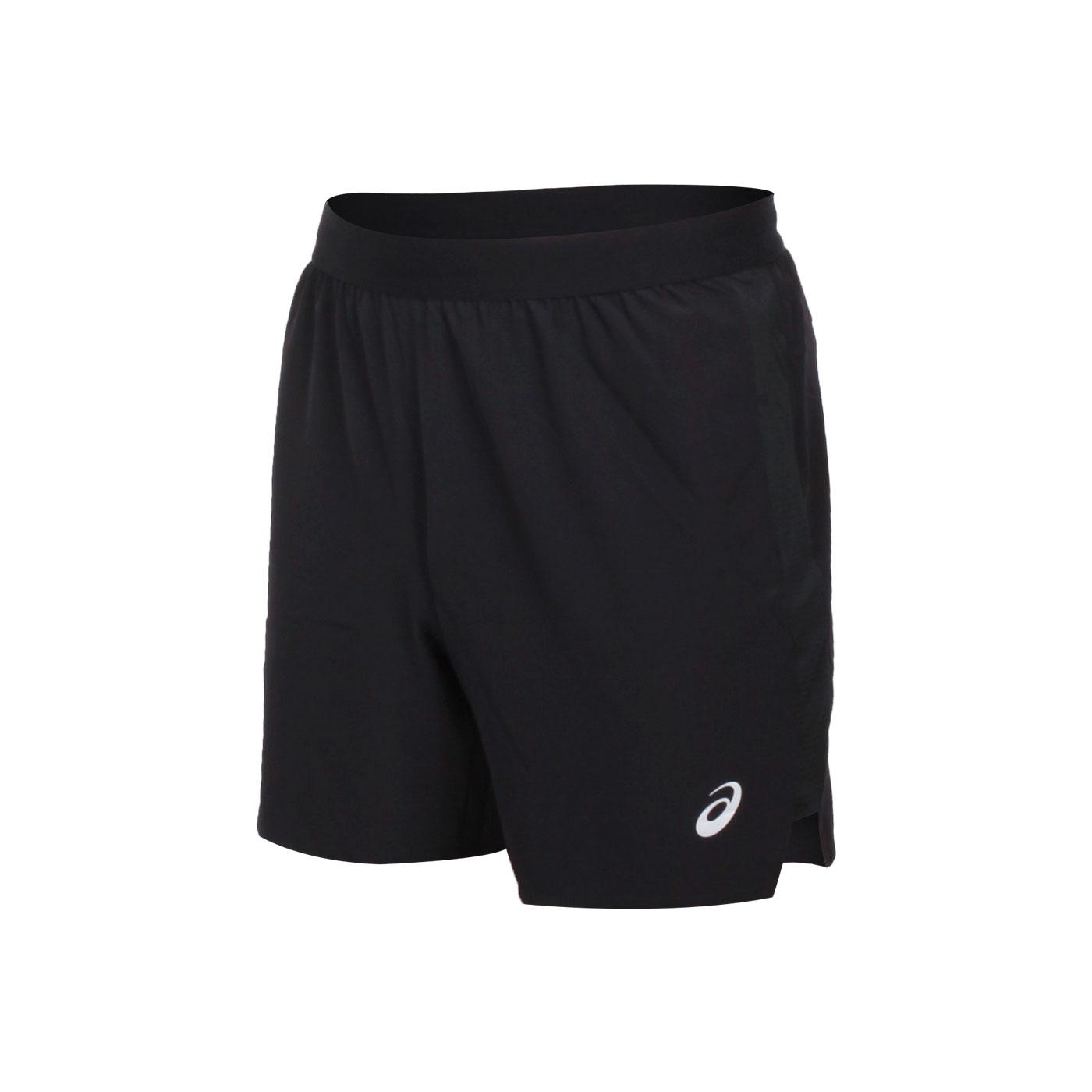 ASICS 男款七吋平織短褲 2011A768-001 - 黑銀