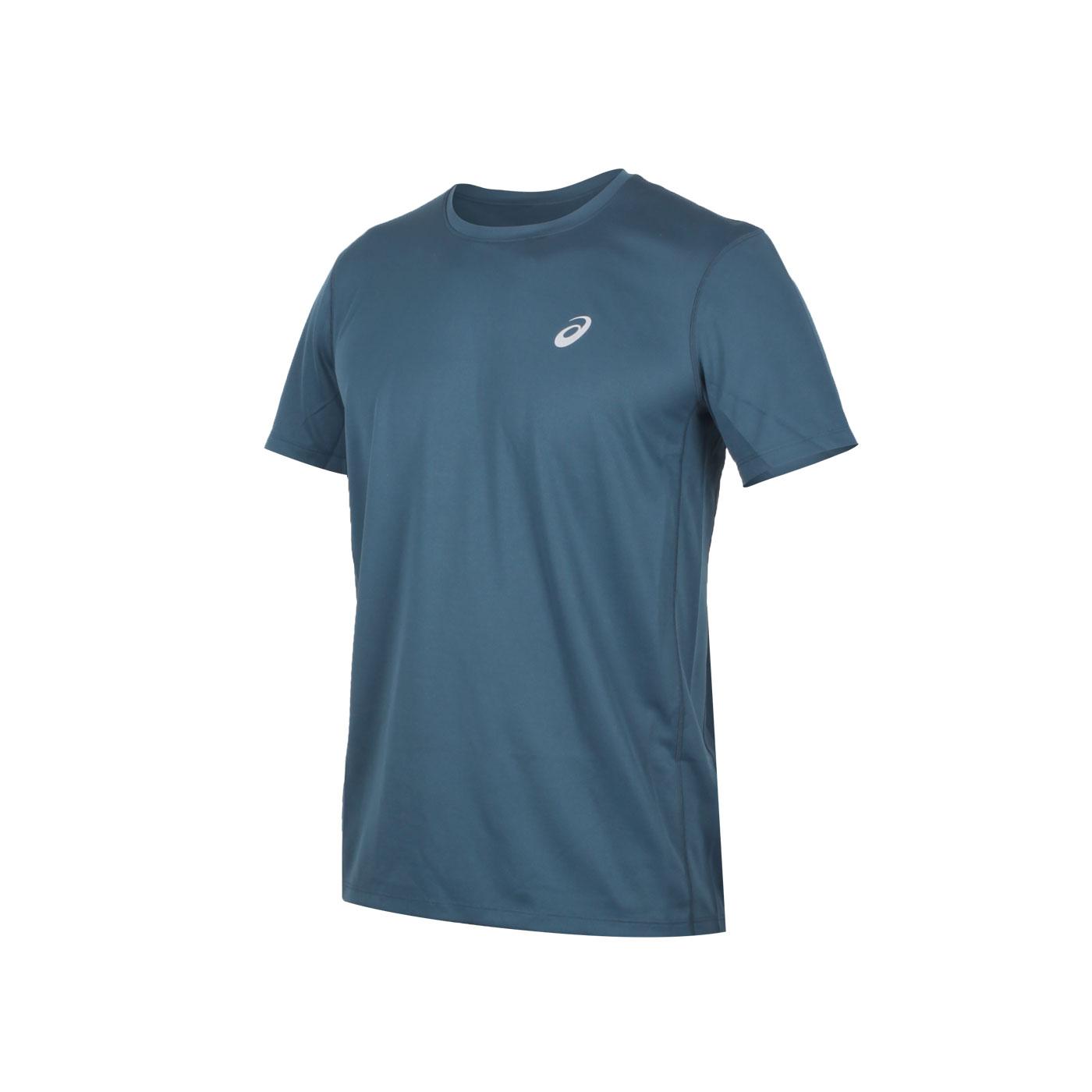 ASICS 男款片假名短袖T恤 2011A866-404 - 墨藍銀