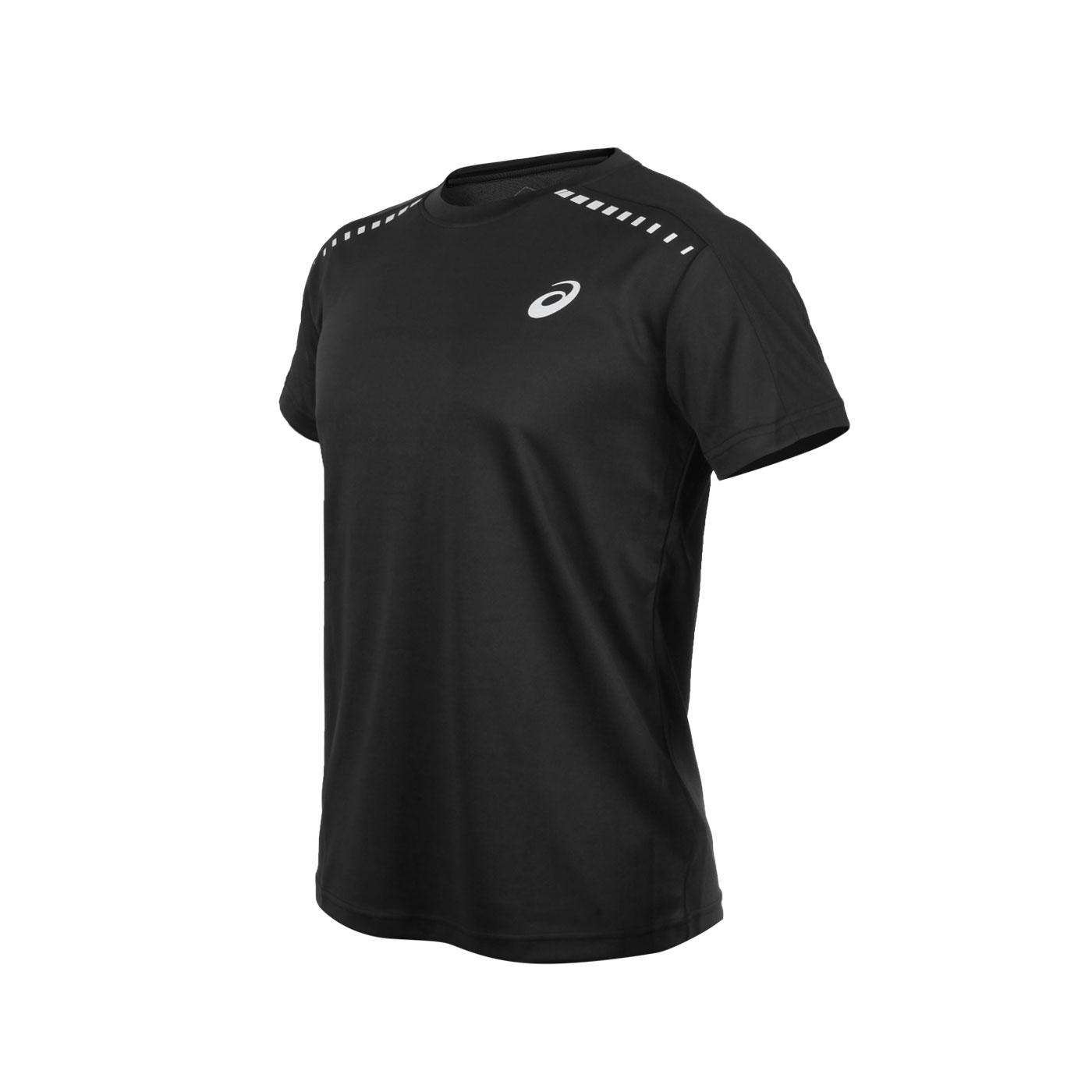 ASICS 男款短袖T恤 2013A176-001 - 黑銀