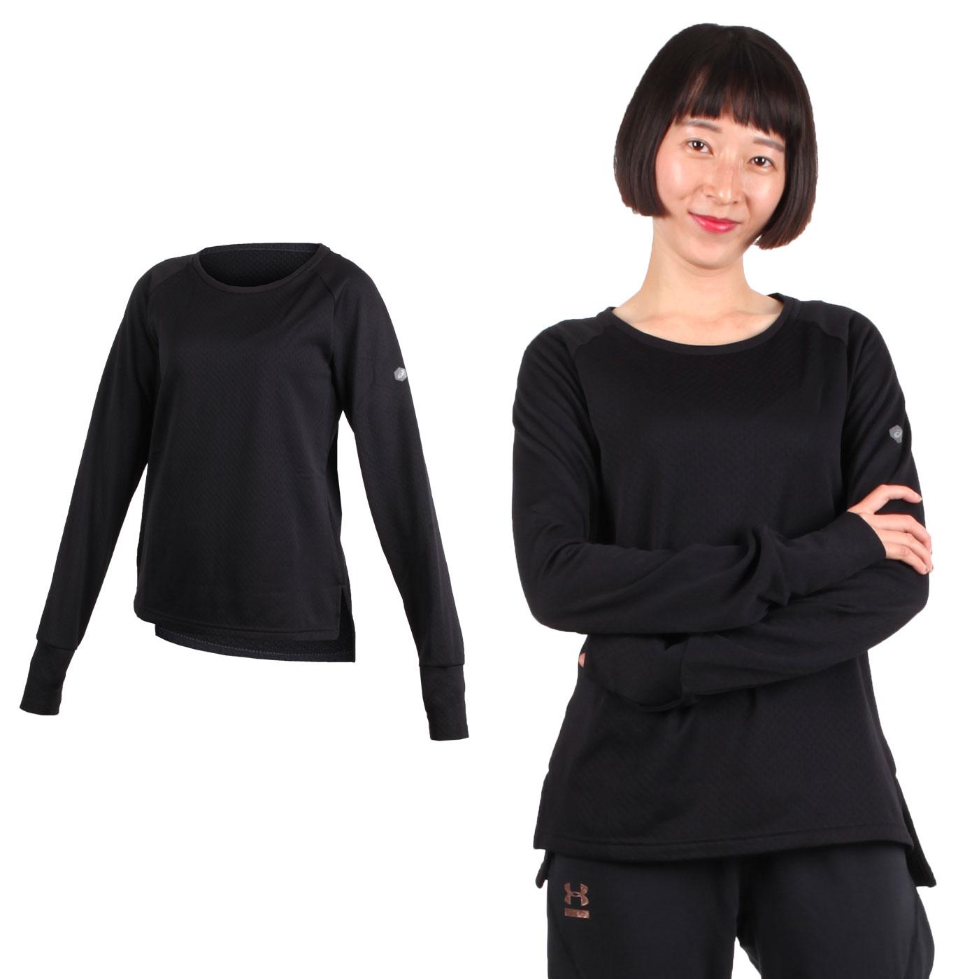 ASICS 女長袖內刷毛保暖T恤 2032A870-002 - 黑