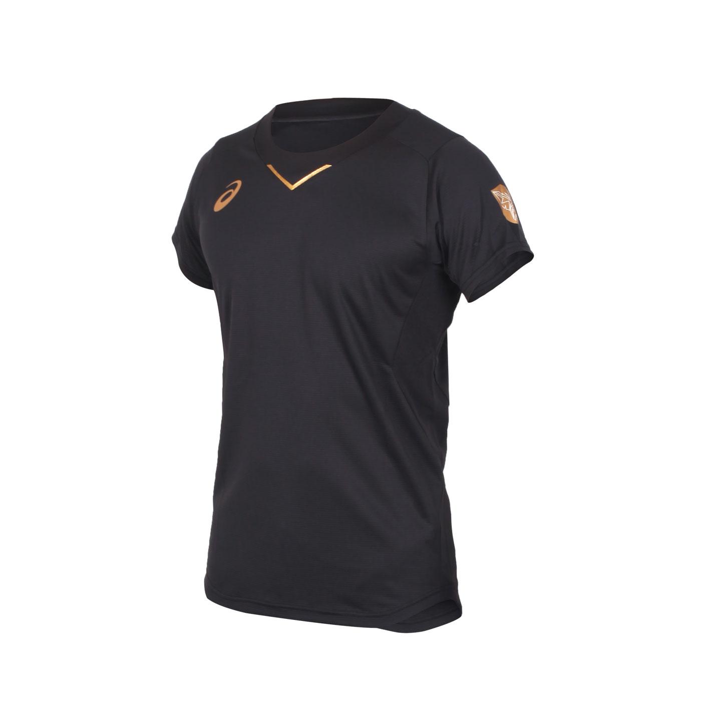 ASICS 男款排球短袖T恤 2051A245-001 - 黑金