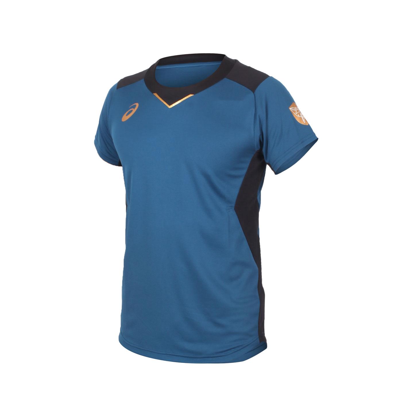 ASICS 男款排球短袖T恤 2051A245-001 - 墨藍金