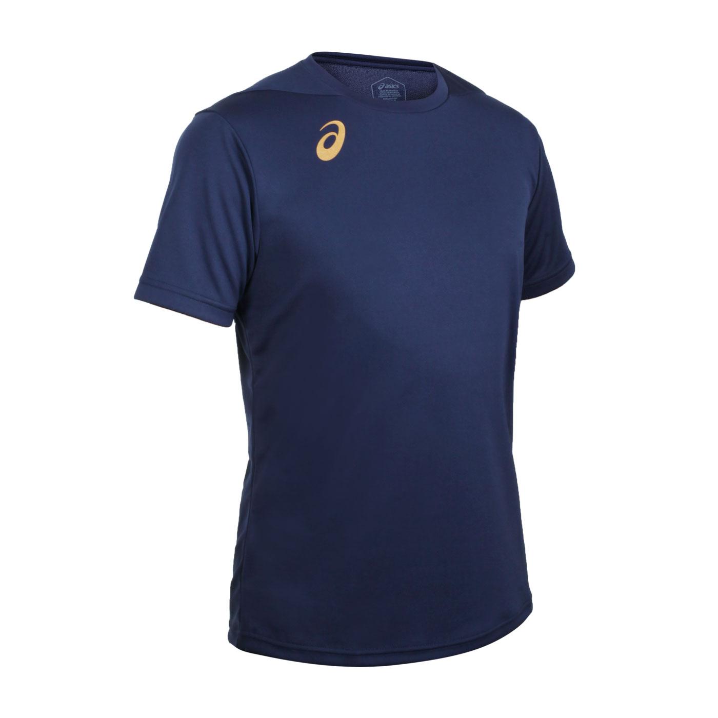 ASICS 男款排羽球短袖T恤 2051A270-400 - 丈青金