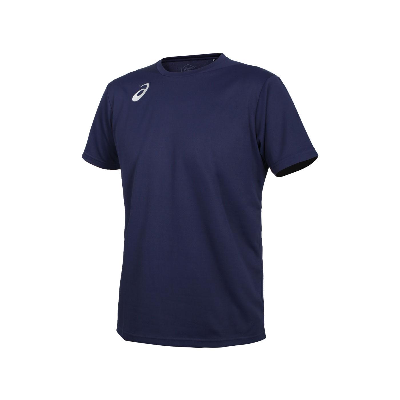 ASICS 男款排羽球短袖T恤 2051A295-400 - 丈青銀