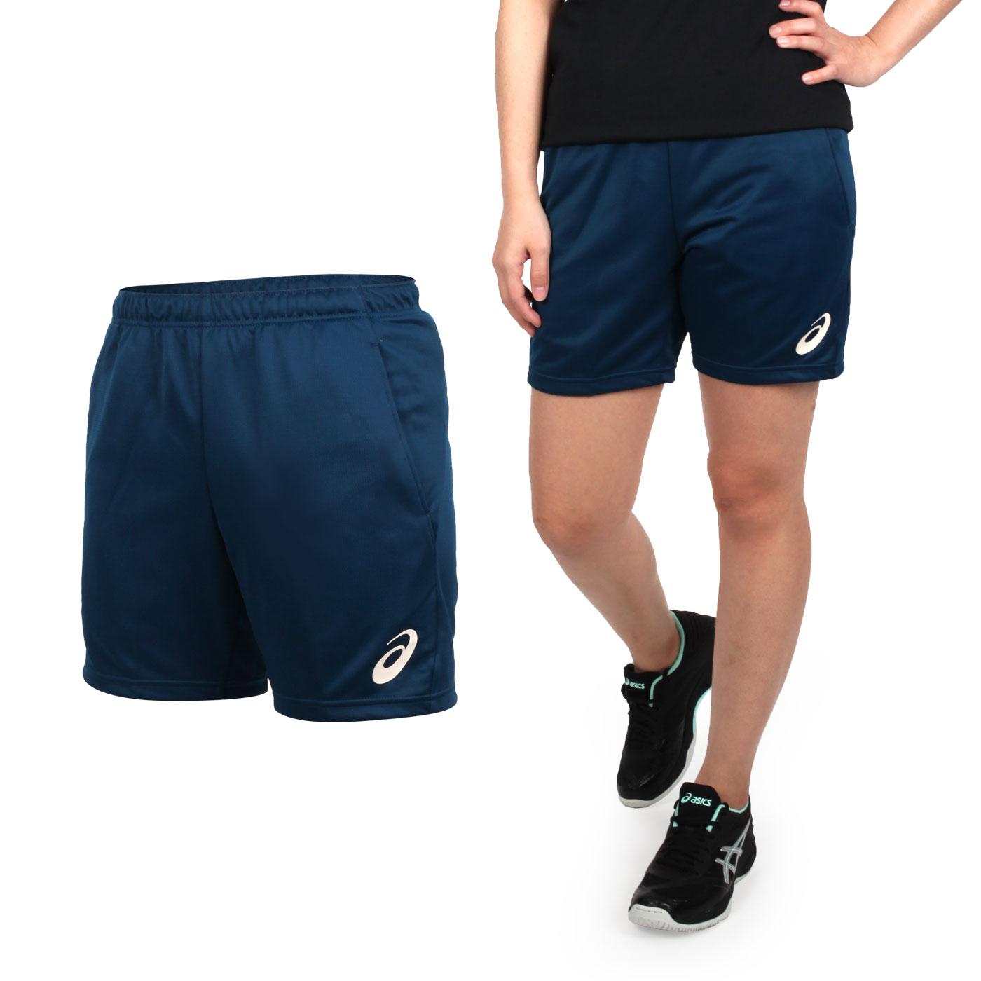 ASICS 女款排球針織短褲 2052A135-401 - 墨藍淡橘