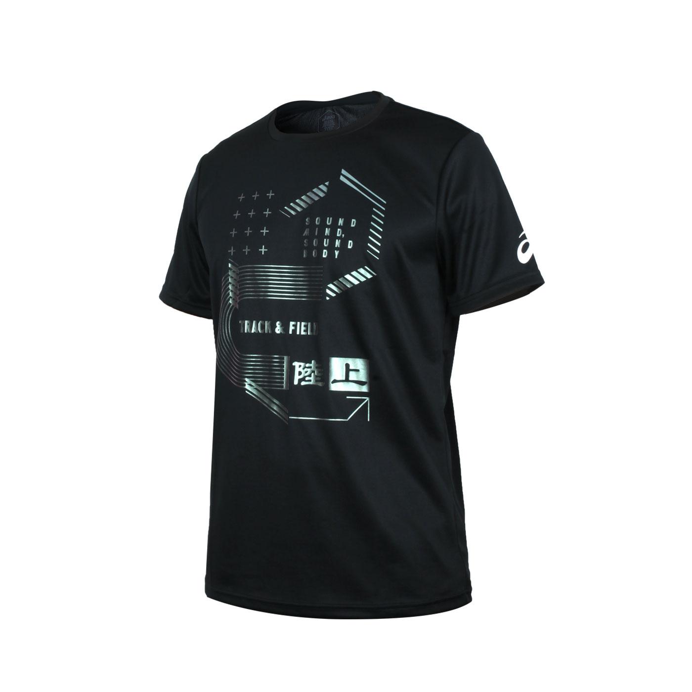 ASICS 男款短袖T恤 2091A354-001 - 黑綠