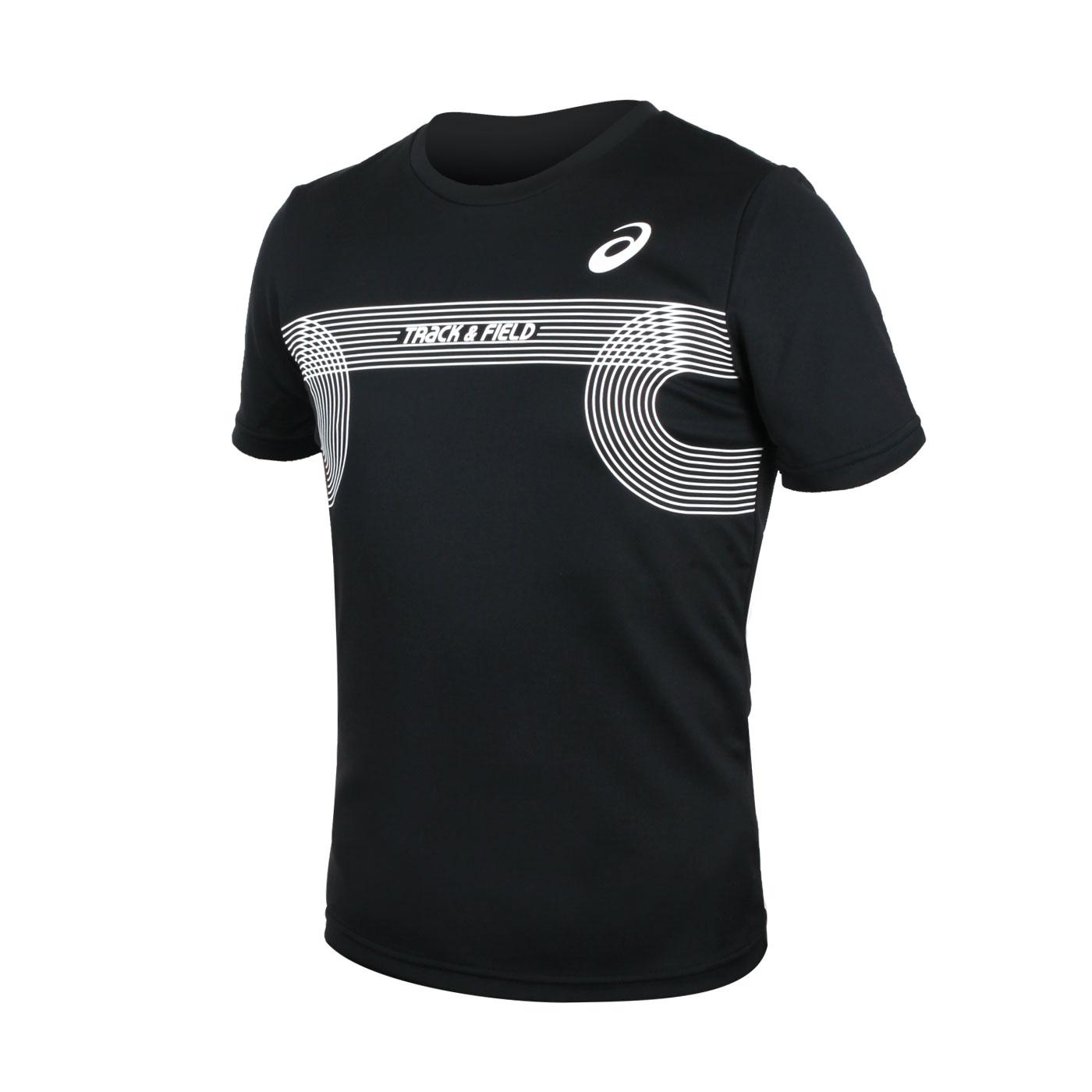 ASICS 男款田徑短袖T恤(附轉印貼) 2091A384-001 - 黑白