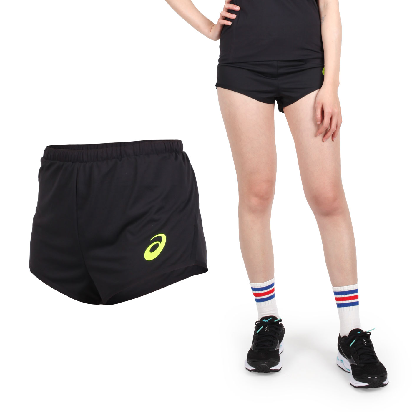 ASICS 女田徑短褲 2092A029-001 - 黑螢光綠