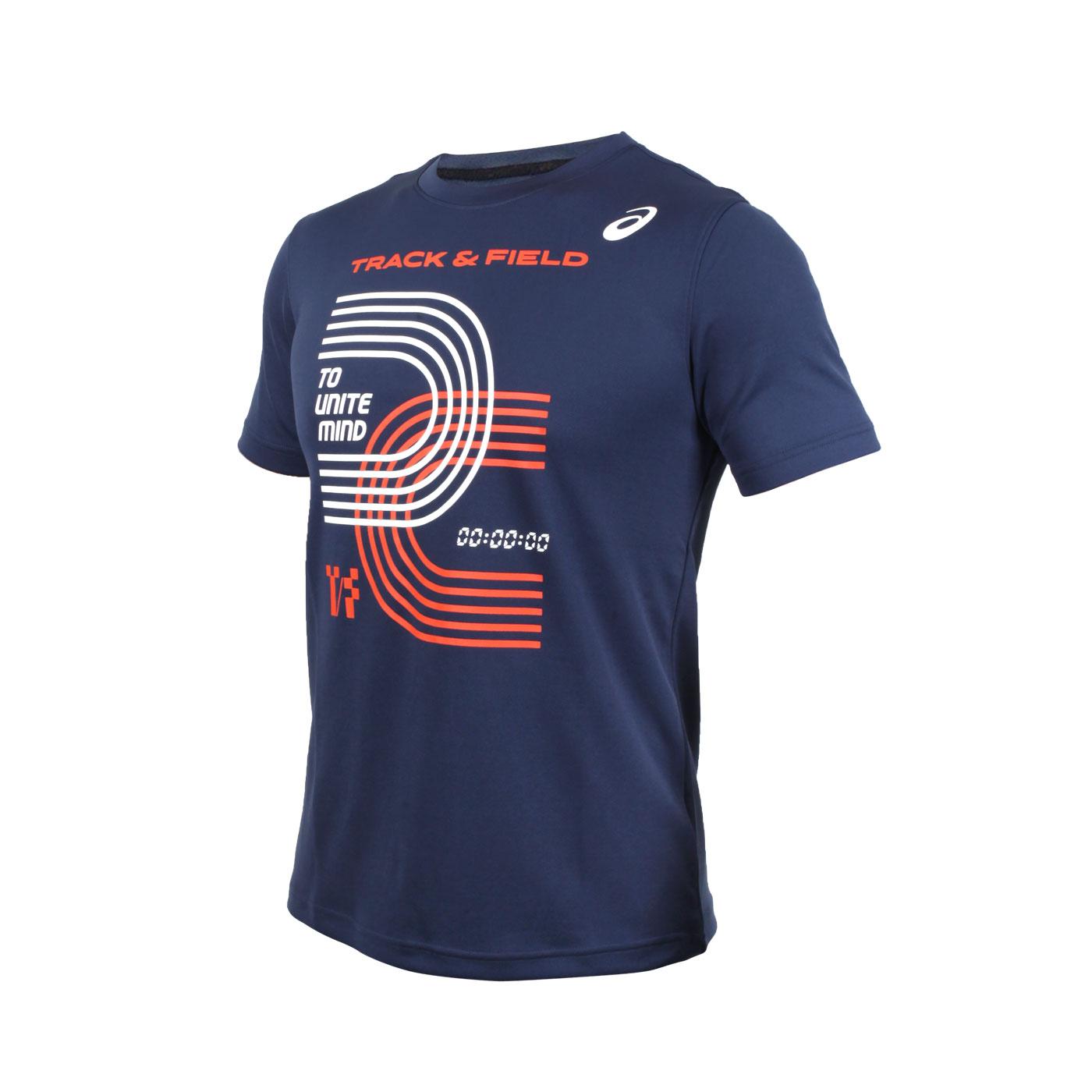 ASICS 男款短袖T恤 2093A128-400 - 丈青白橘