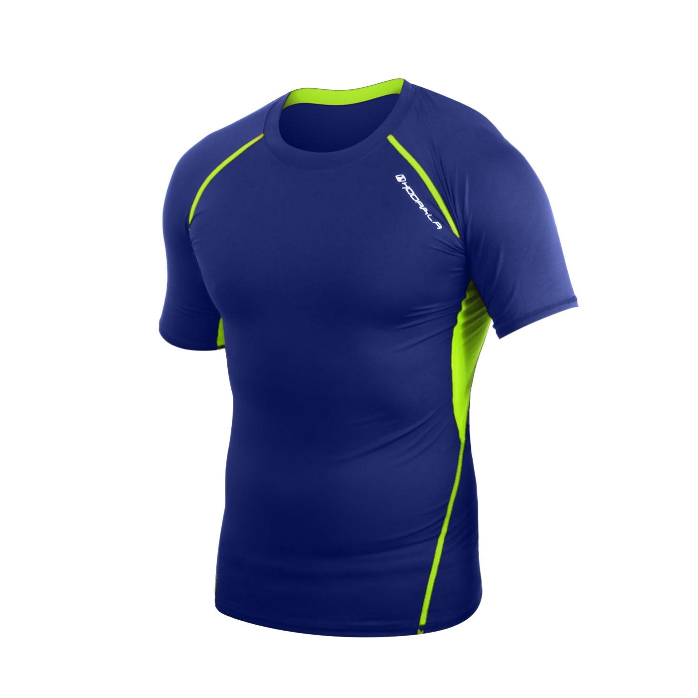 HODARLA 肌動圓領短袖緊身衣 3115501 - 藍螢光黃