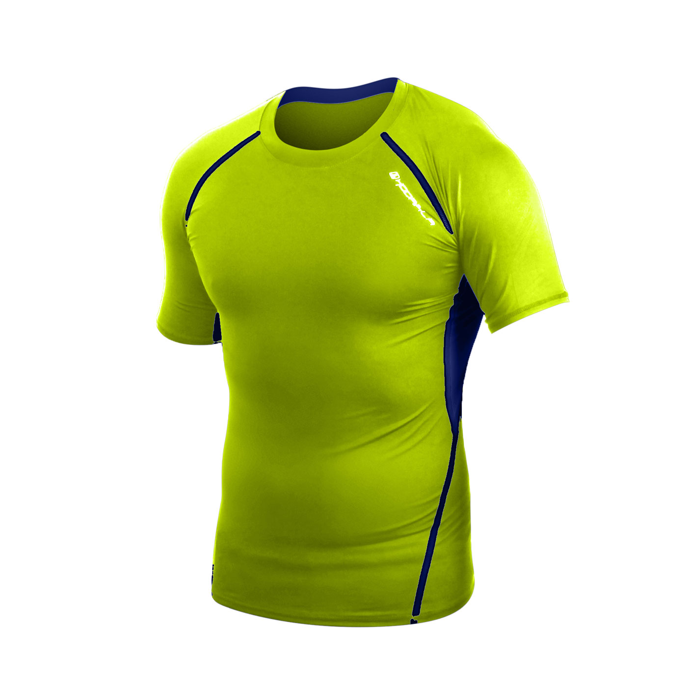 HODARLA 肌動圓領短袖緊身衣 3115501 - 螢光黃藍