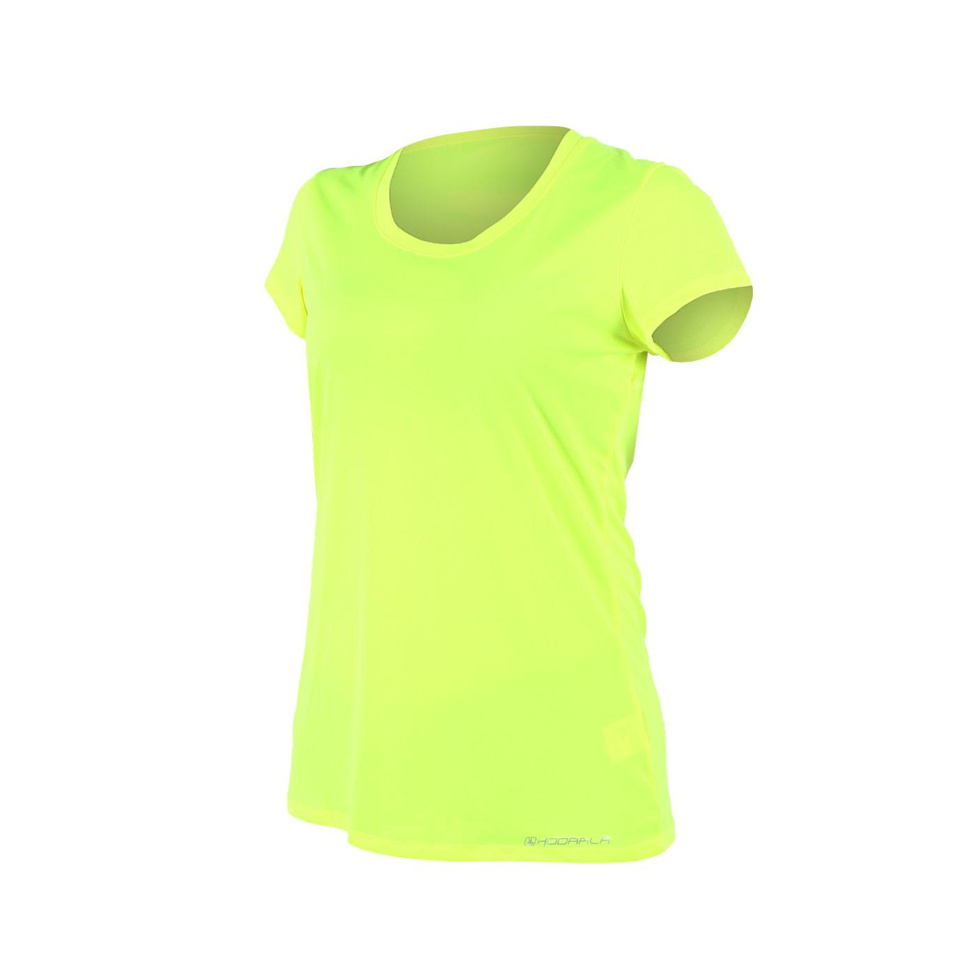 HODARLA 女款晶漾拼接短袖T恤 3125202 - 螢光黃