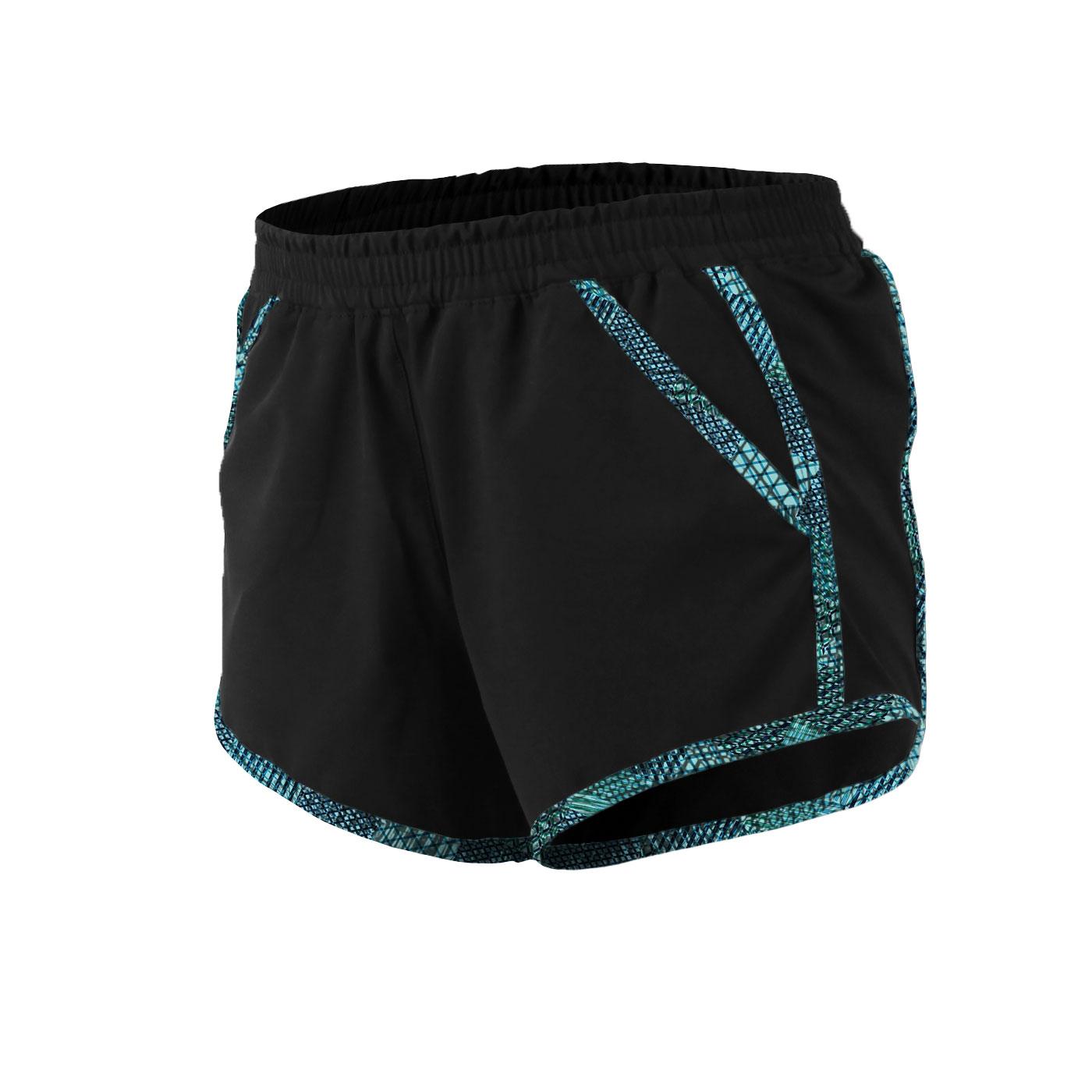 HODARLA 女款MINI H 慢跑短褲 3125702 - 黑藍綠