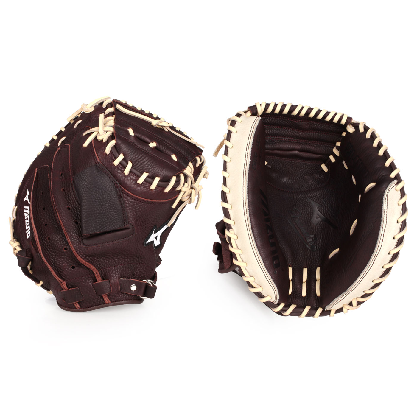 MIZUNO 棒球捕手手套(右投) 312736-R - 深咖啡棕