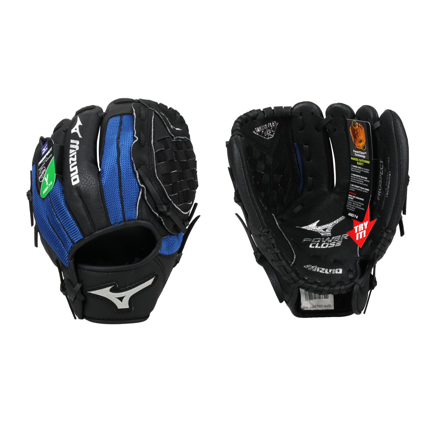 MIZUNO 少年用手套(右投) 312795-R - 黑藍銀