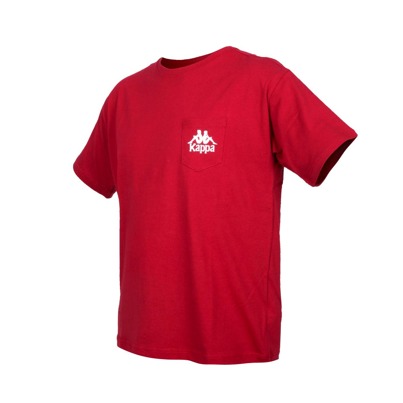 KAPPA 男款短袖T恤 32191TW-700 - 酒紅白