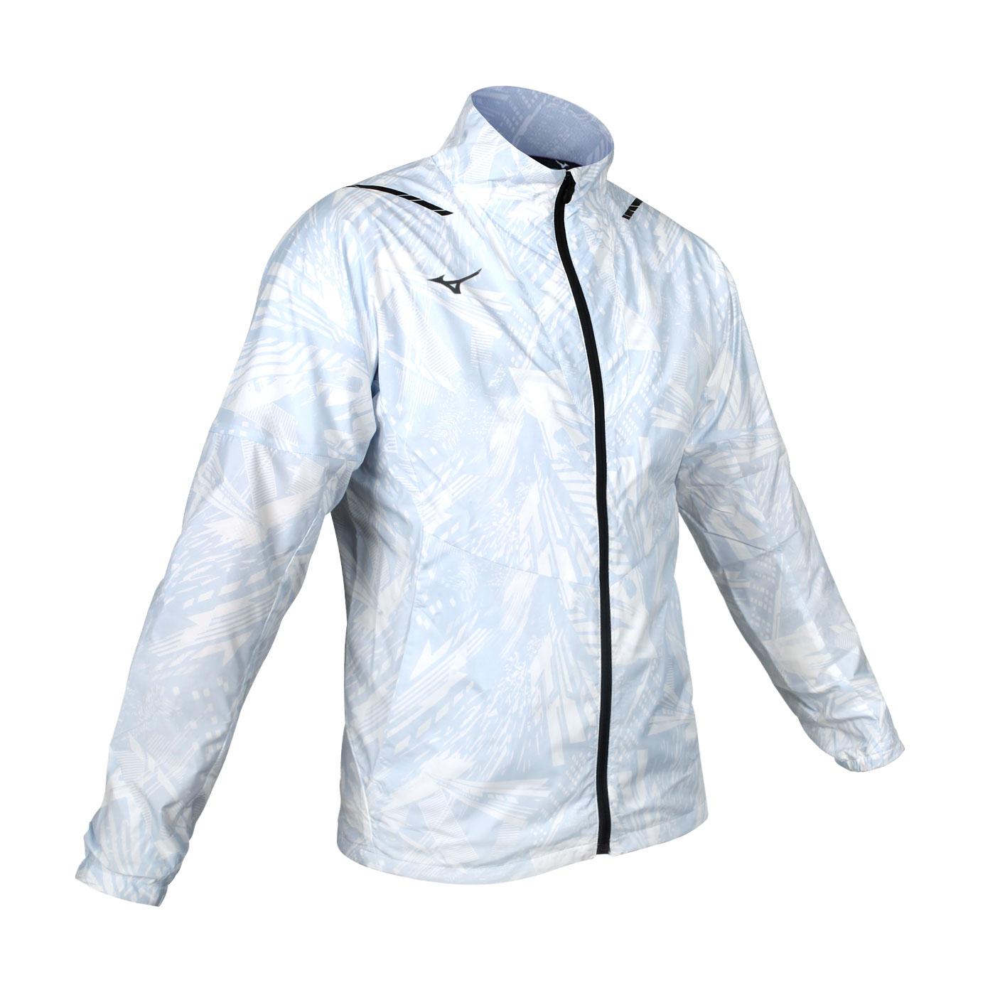 MIZUNO 男款平織運動外套 32ME051002 - 白淺藍黑