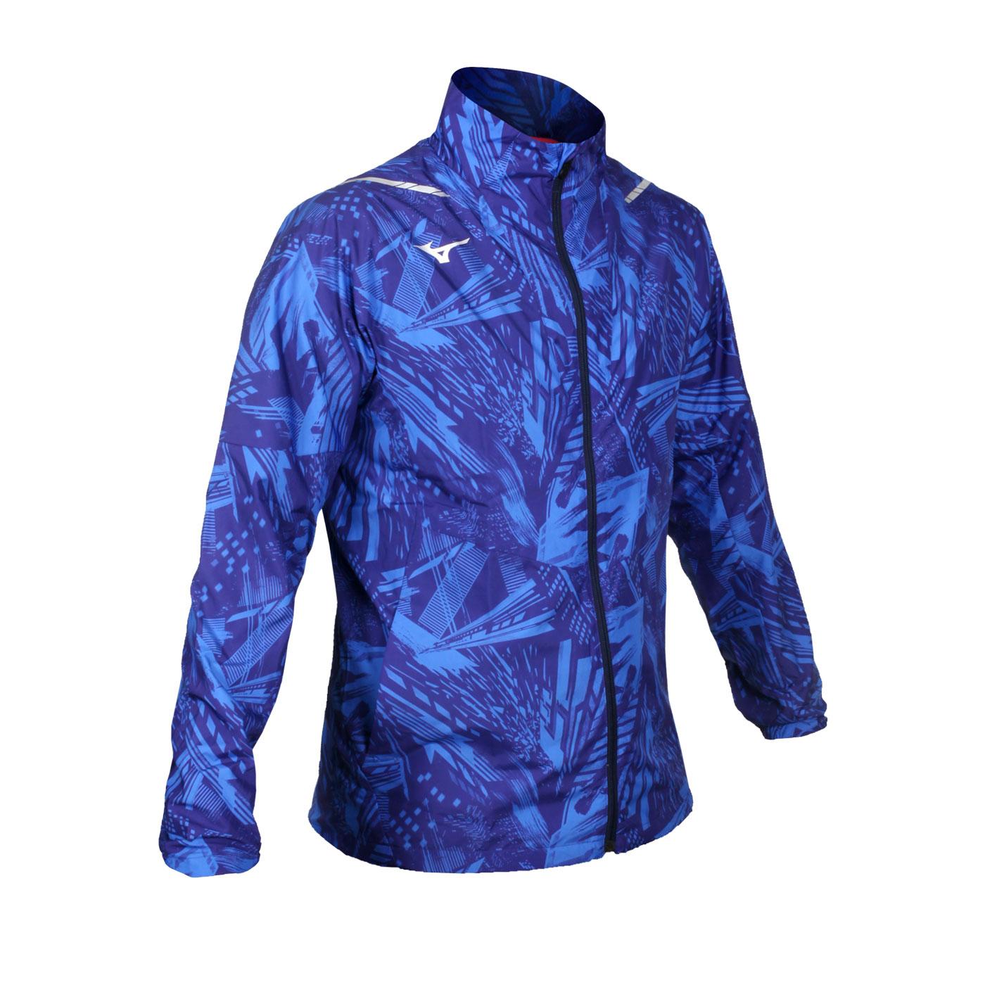 MIZUNO 男款平織運動外套 32ME051020 - 藍銀