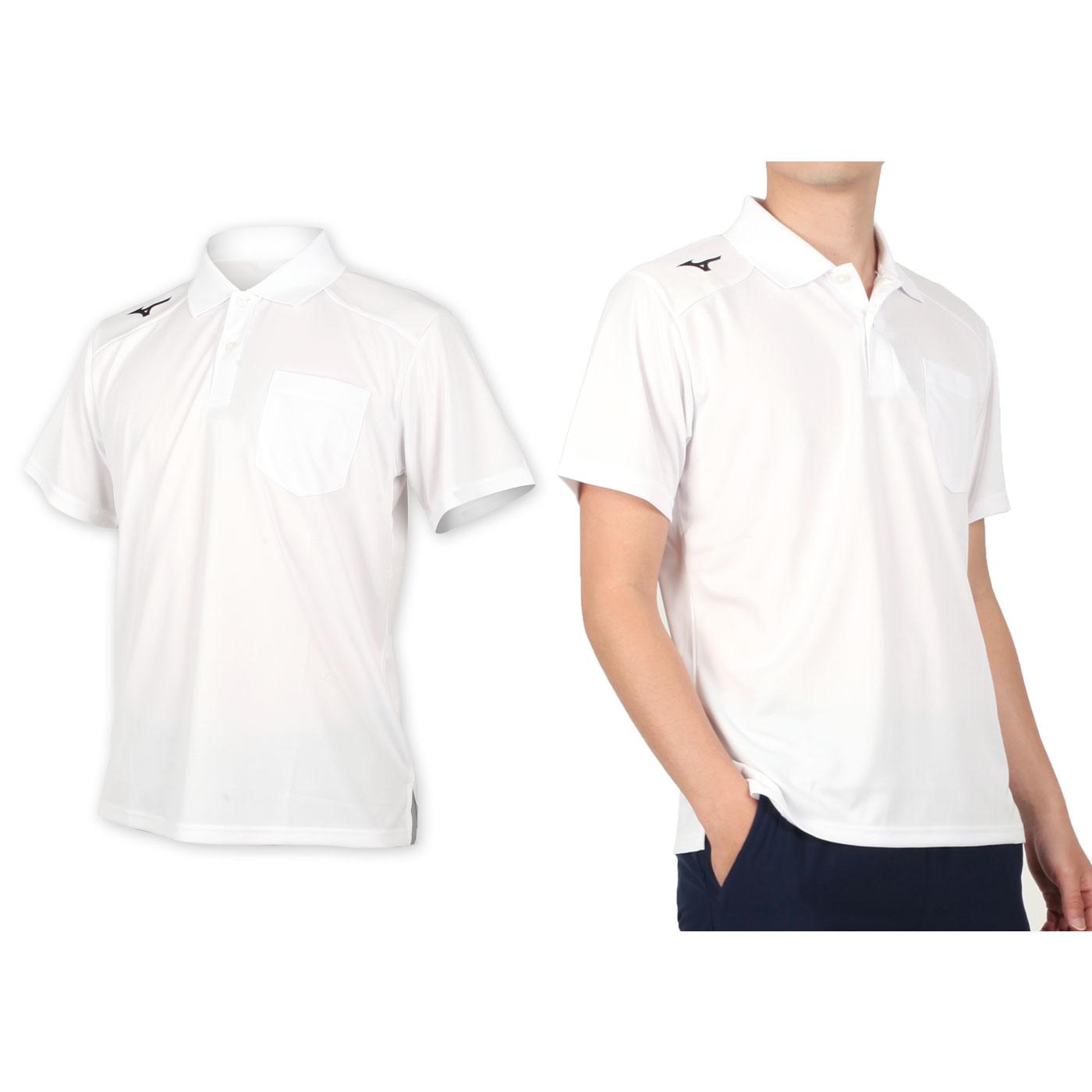 MIZUNO 男款短袖POLO衫 32TA002001 - 白黑