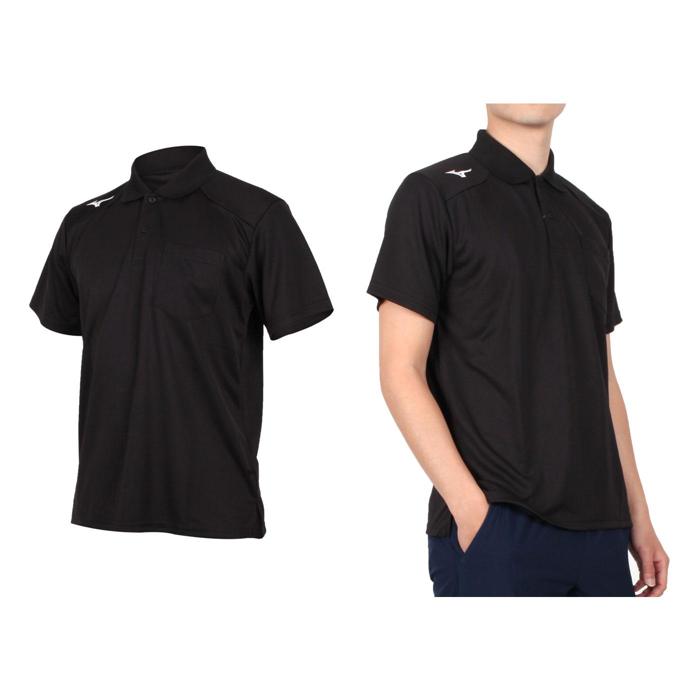 MIZUNO 男款短袖POLO衫 32TA002001 - 黑白