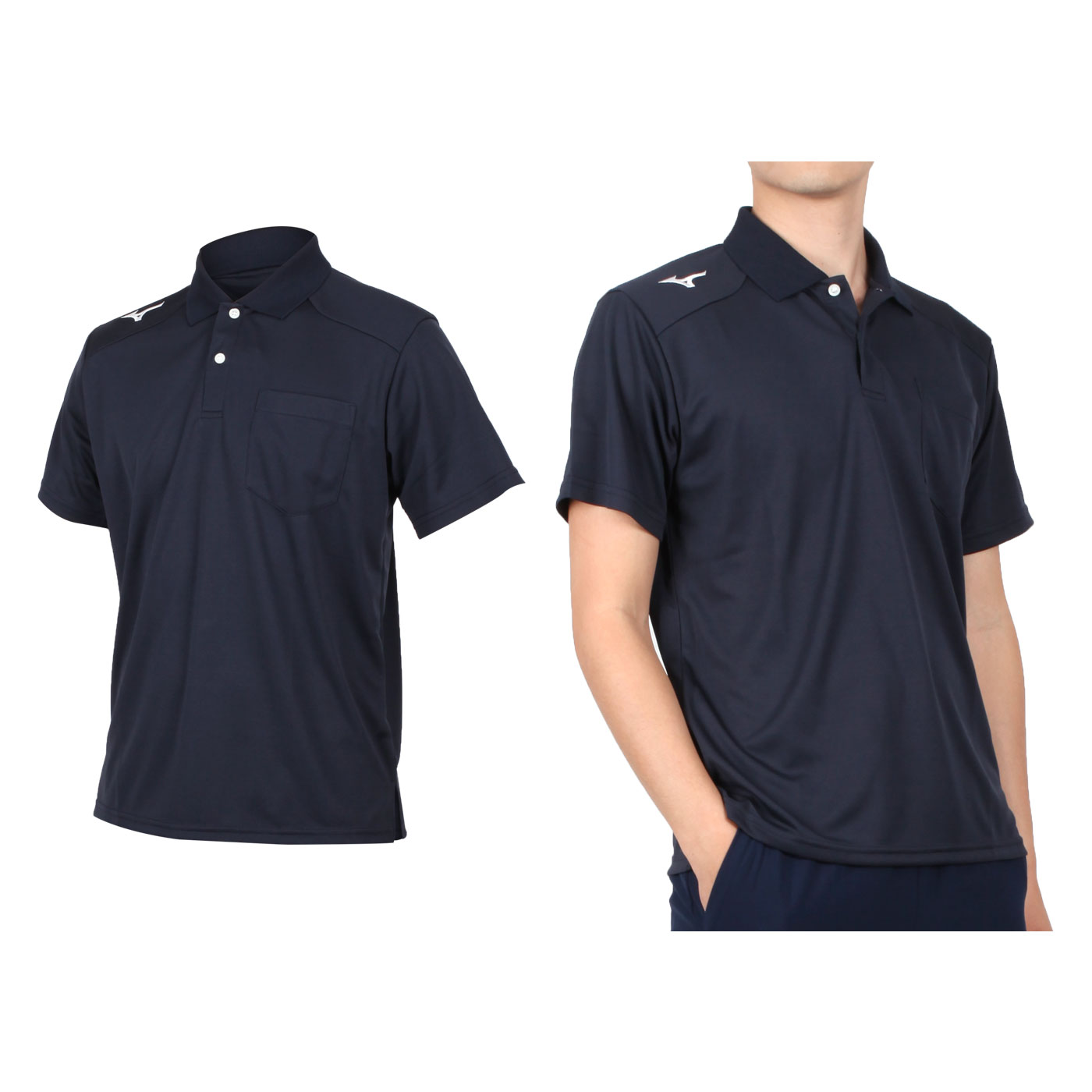 MIZUNO 男款短袖POLO衫 32TA002001 - 丈青白
