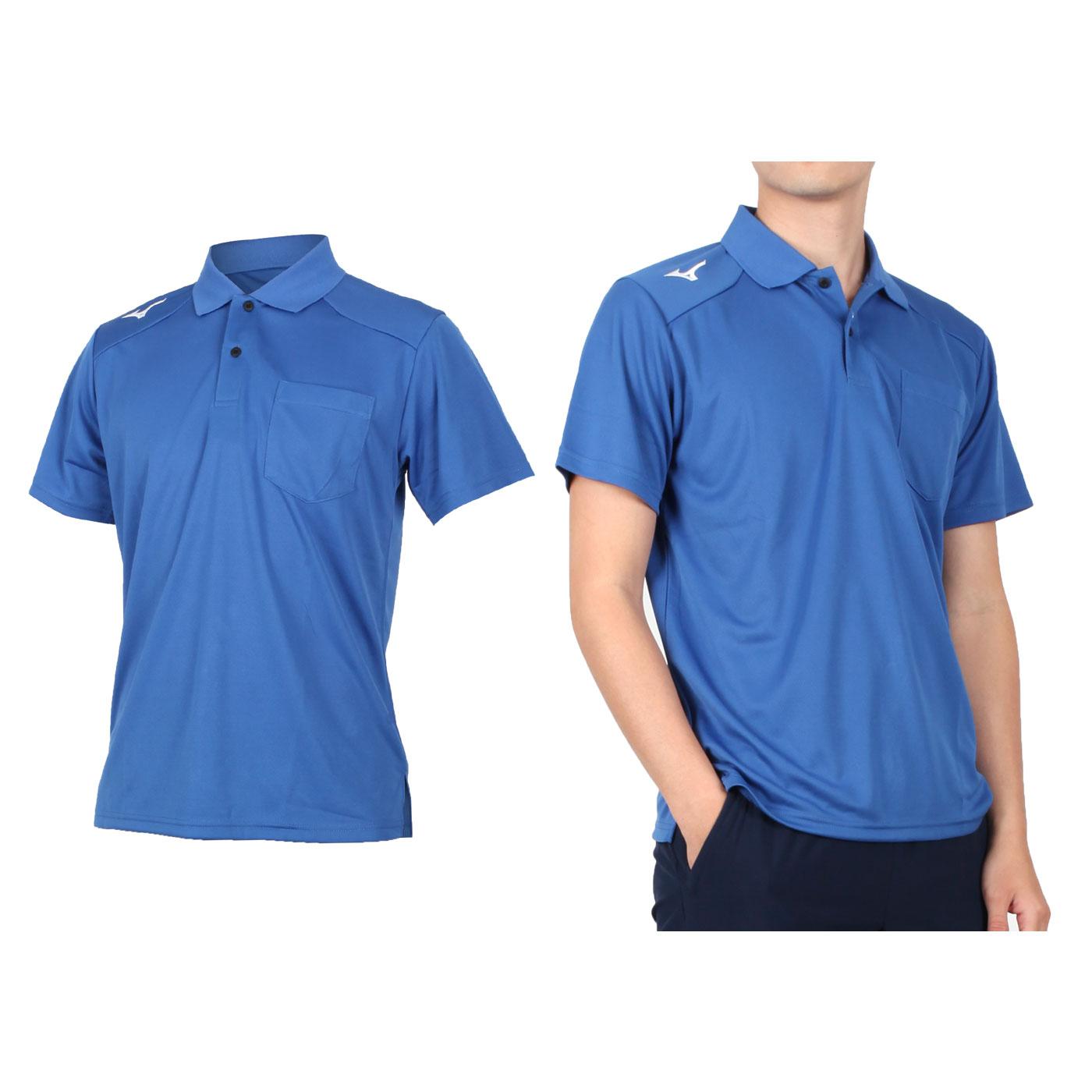MIZUNO 男款短袖POLO衫 32TA002001 - 藍白