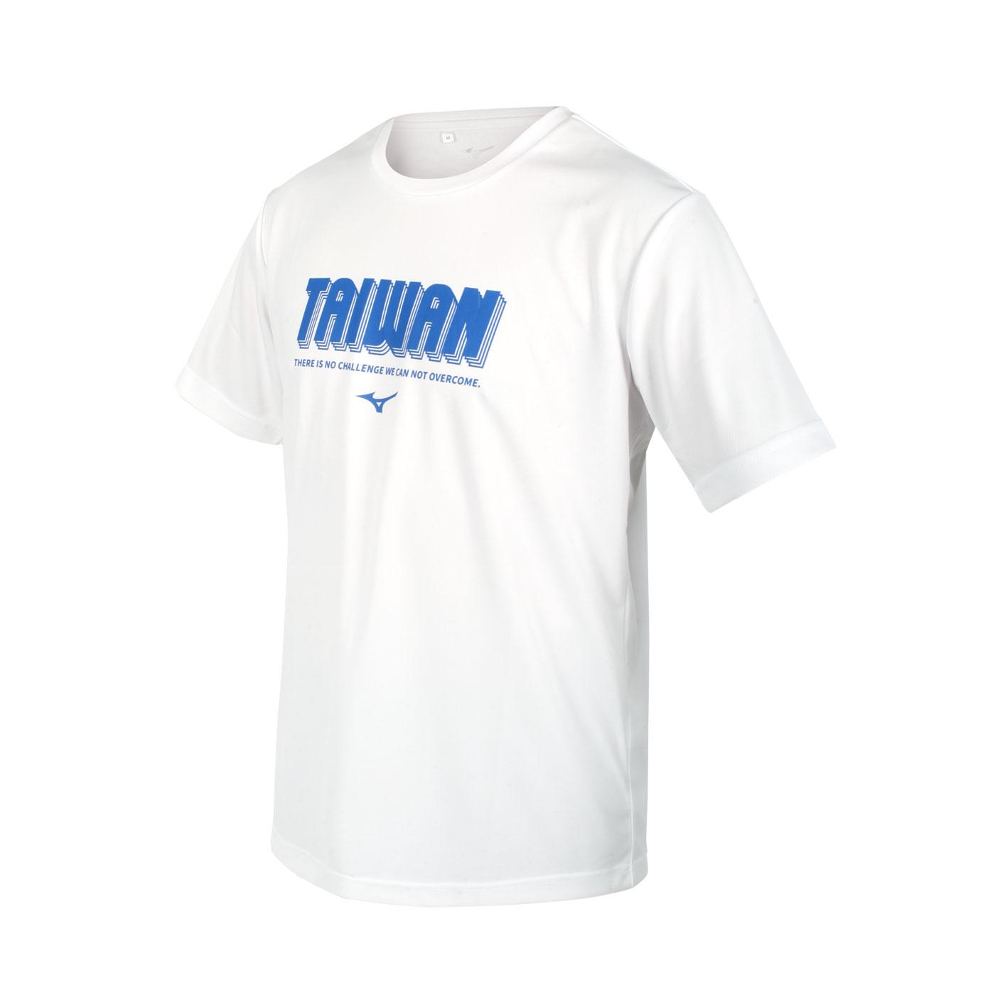MIZUNO 男款短袖T恤 32TA101201 - 白藍