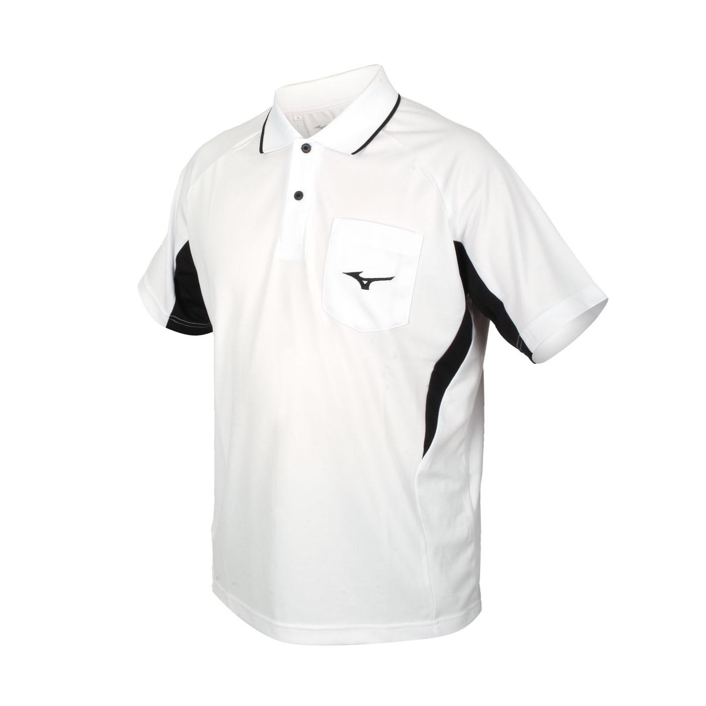 MIZUNO 男款短袖POLO衫 32TA102101 - 白黑
