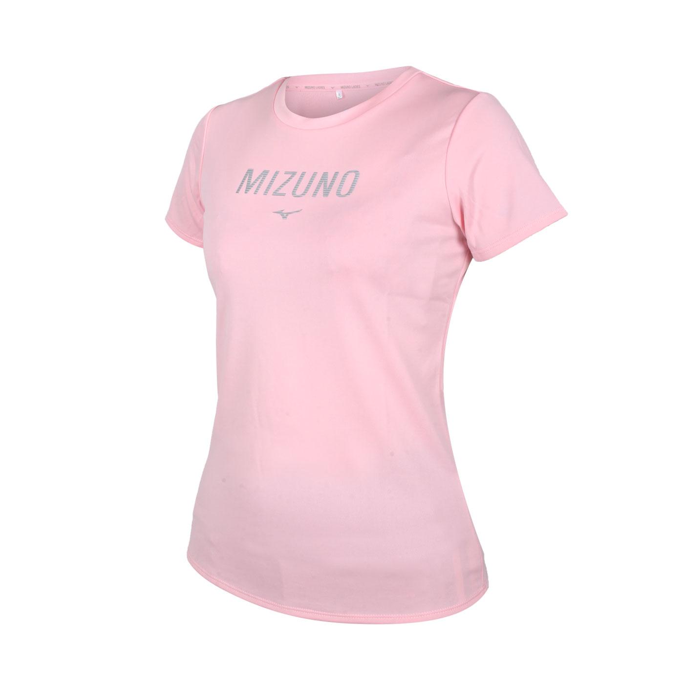 MIZUNO 女款短袖T恤 32TA120166 - 粉紅銀