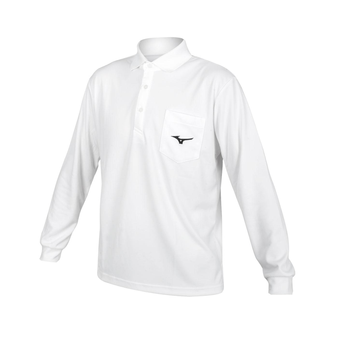 MIZUNO 男款長袖POLO衫 32TA154301 - 白黑
